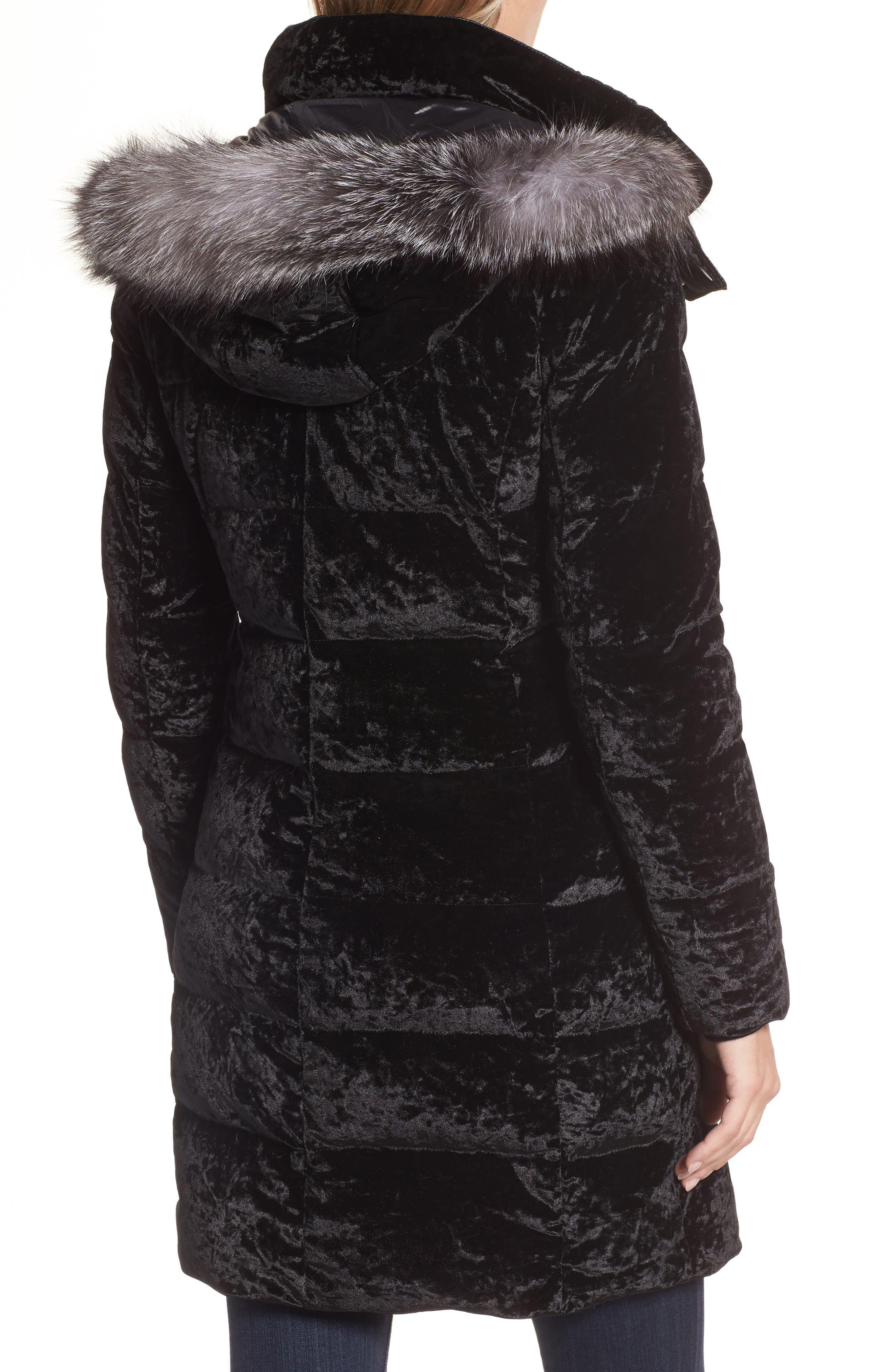 Velvet Down Jacket with Genuine Fox Fur,                             Alternate thumbnail 2, color,                             Black