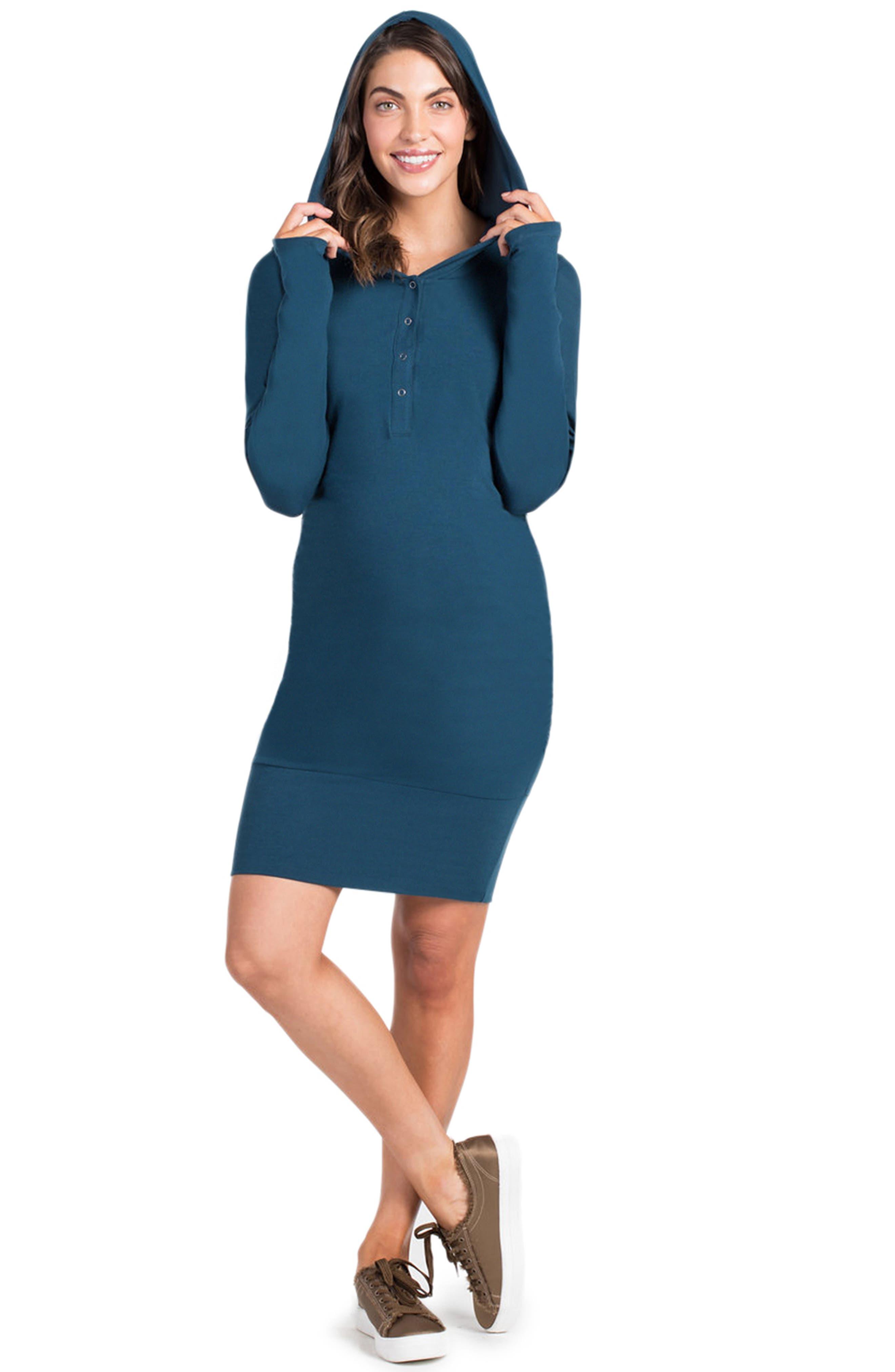 Stella Hoodie Maternity/Nursing Dress,                         Main,                         color, Teal
