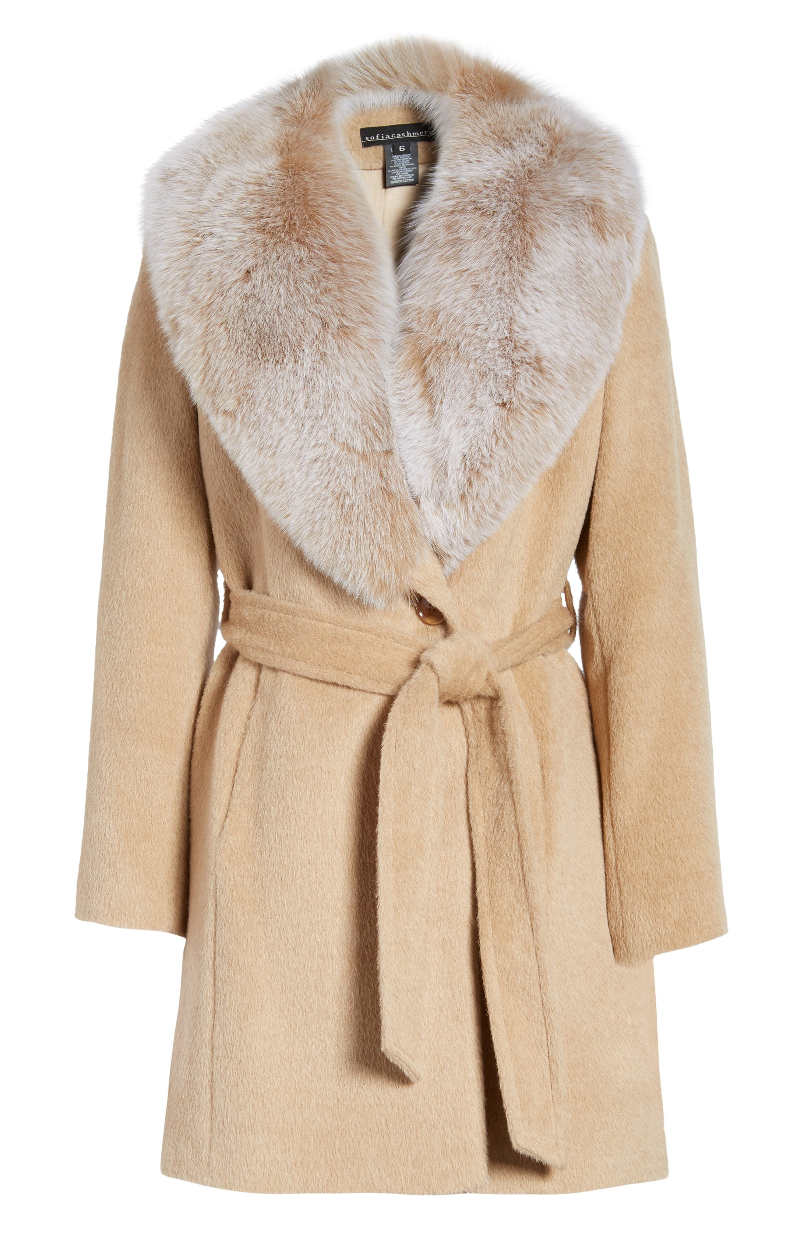 Genuine Fox Fur Lapel Wrap Coat,                             Alternate thumbnail 6, color,                             Blonde/ Frosted Fox