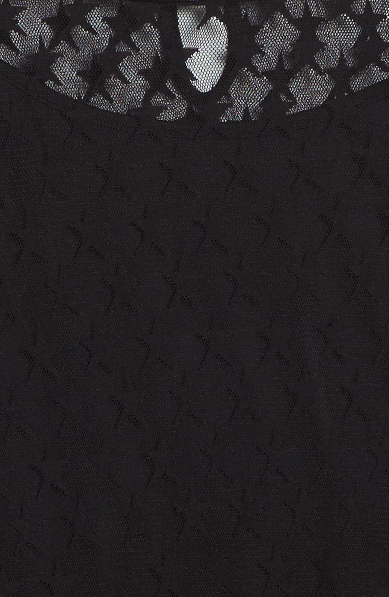 Star Mesh Dress,                             Alternate thumbnail 3, color,                             Black