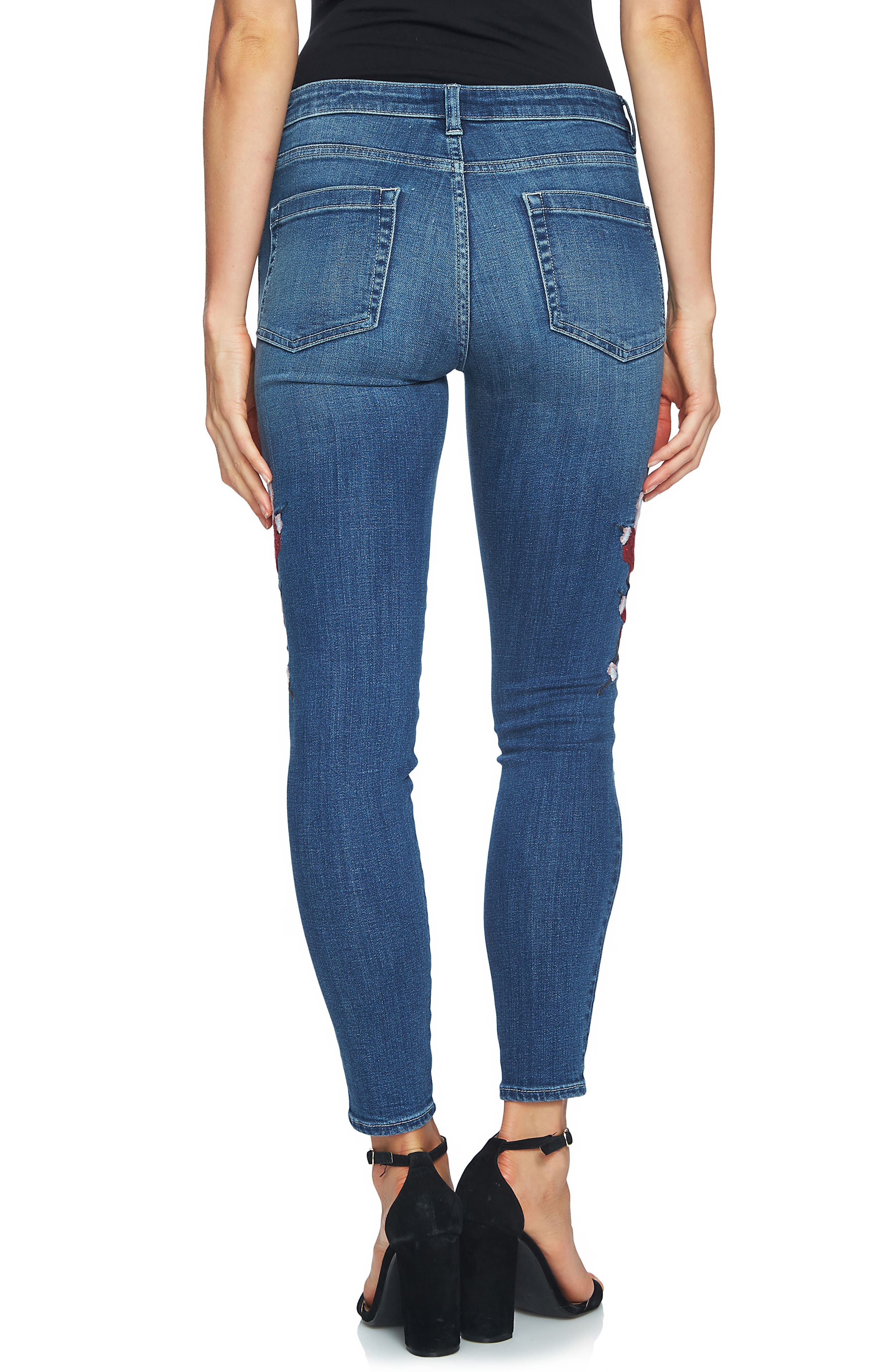Floral Embroidered Skinny Jeans,                             Alternate thumbnail 2, color,                             True Blue