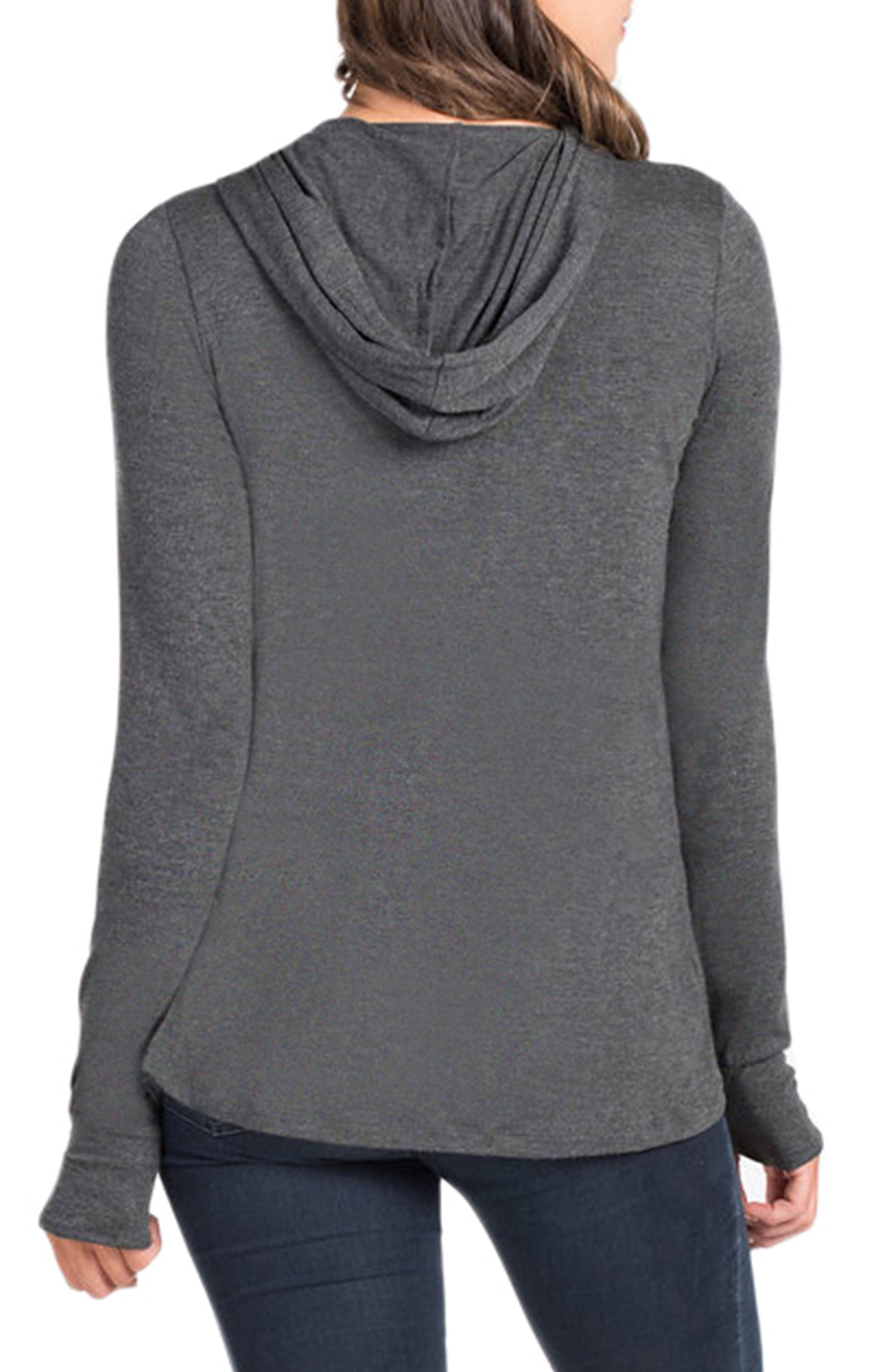 Hooded Maternity/Nursing Tunic,                             Alternate thumbnail 2, color,                             Charcoal Grey