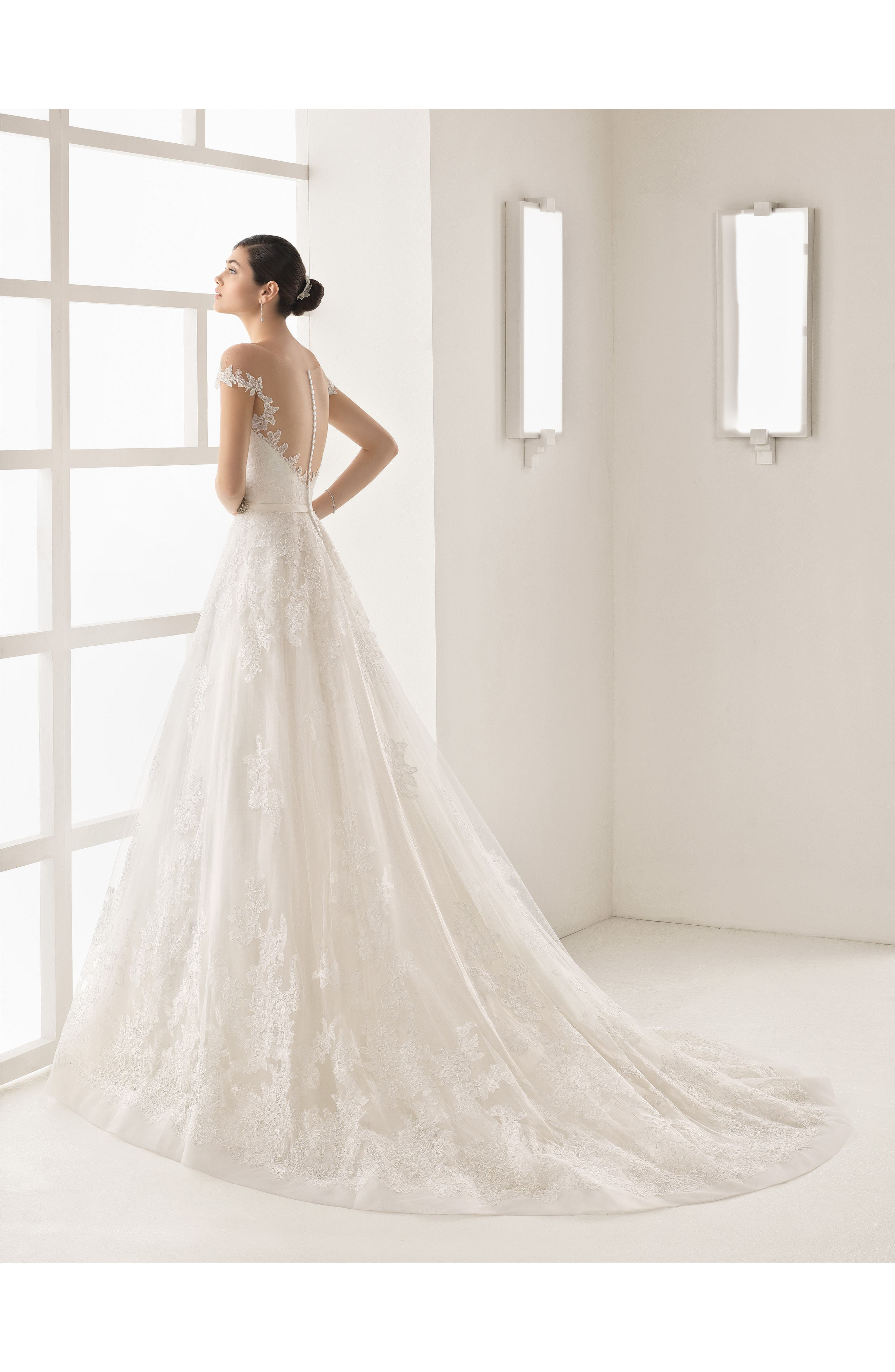 Alternate Image 2  - Rosa Clara Olesa Illusion Off the Shoulder Lace & Tulle Gown