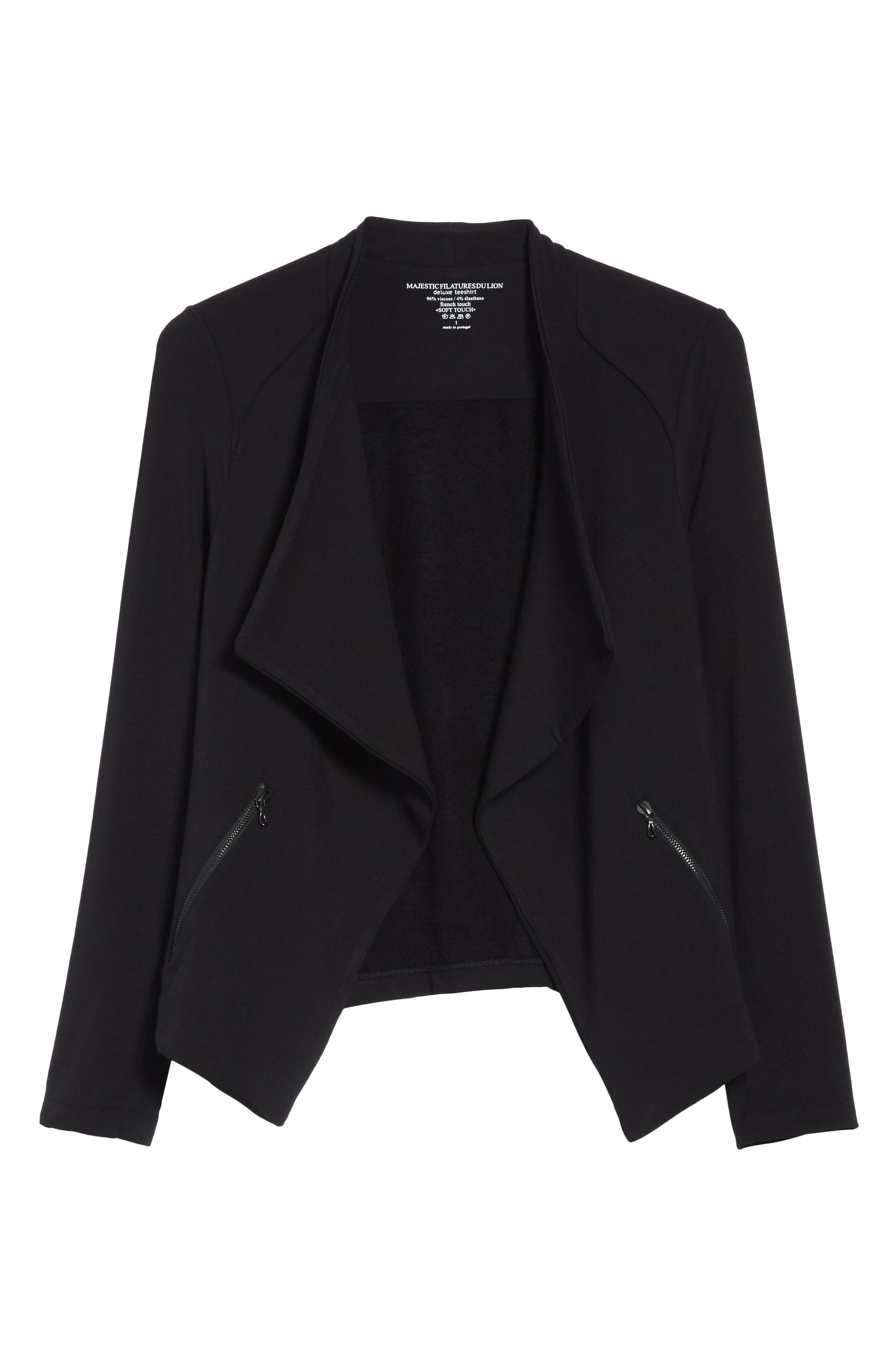 Soft Touch French Terry Moto Jacket,                             Alternate thumbnail 6, color,                             Noir