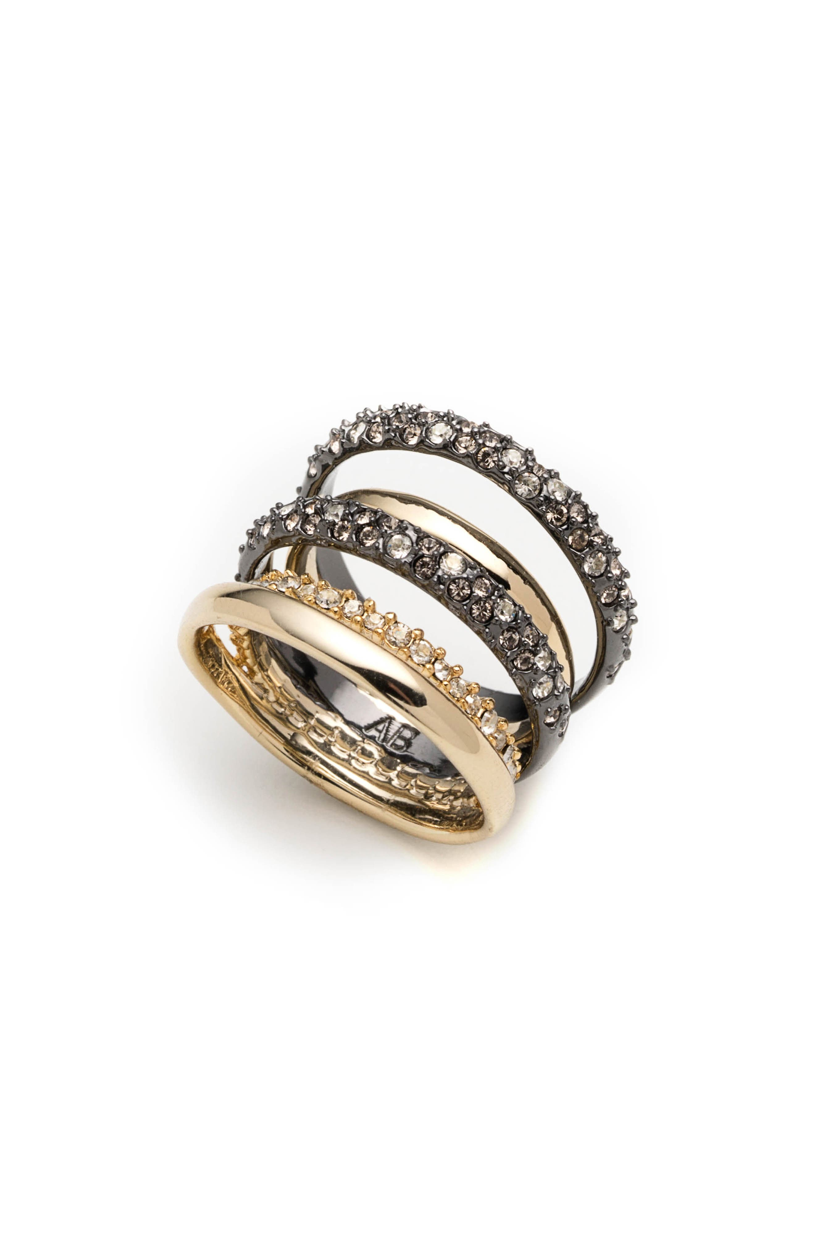 Pavé Stack Ring,                         Main,                         color, Gold