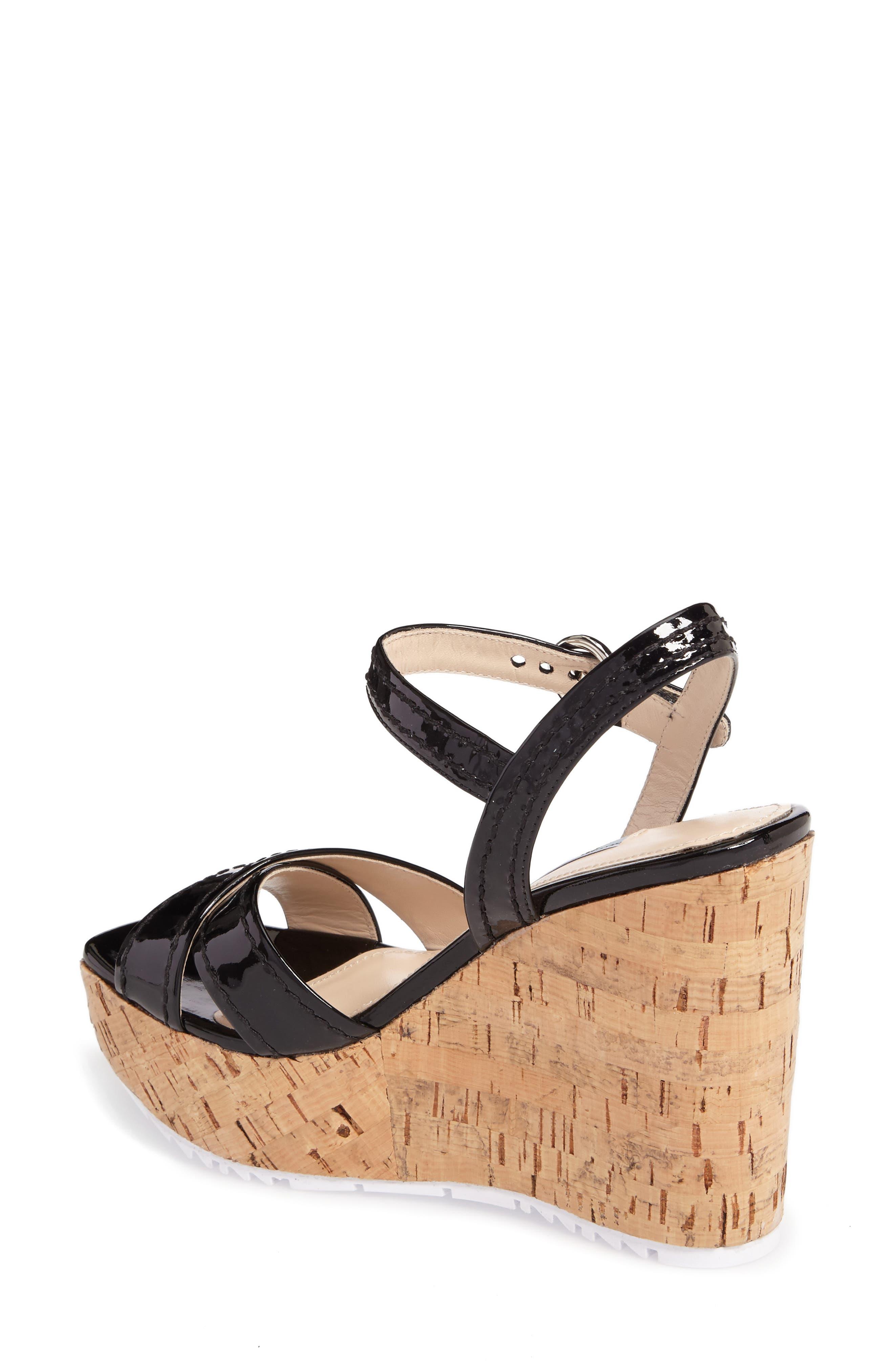 Cork Wedge Sandal,                             Alternate thumbnail 2, color,                             Black