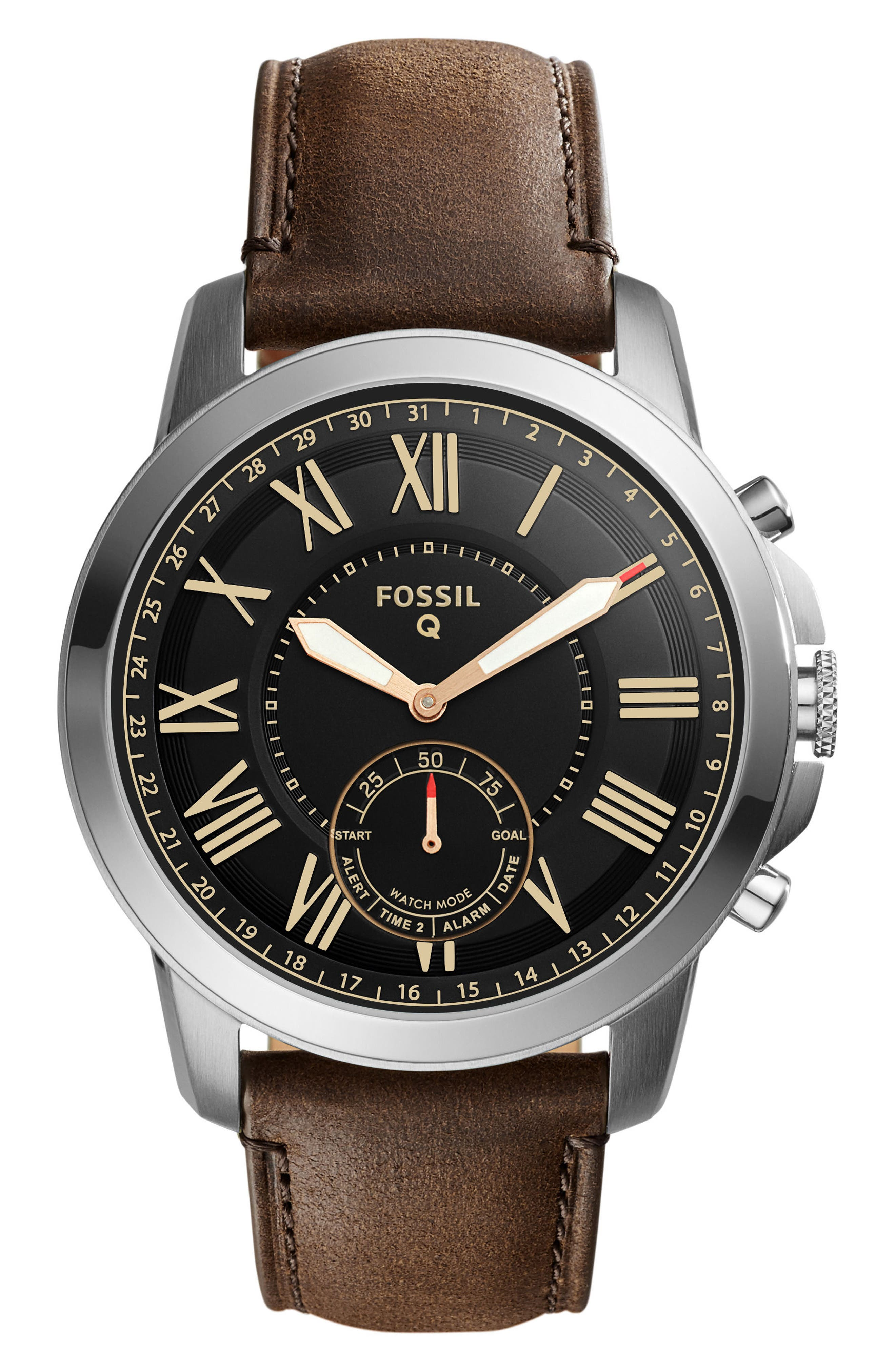 Grant Leather Strap Smart Watch, 44mm,                         Main,                         color, Brown/ Black/ Silver