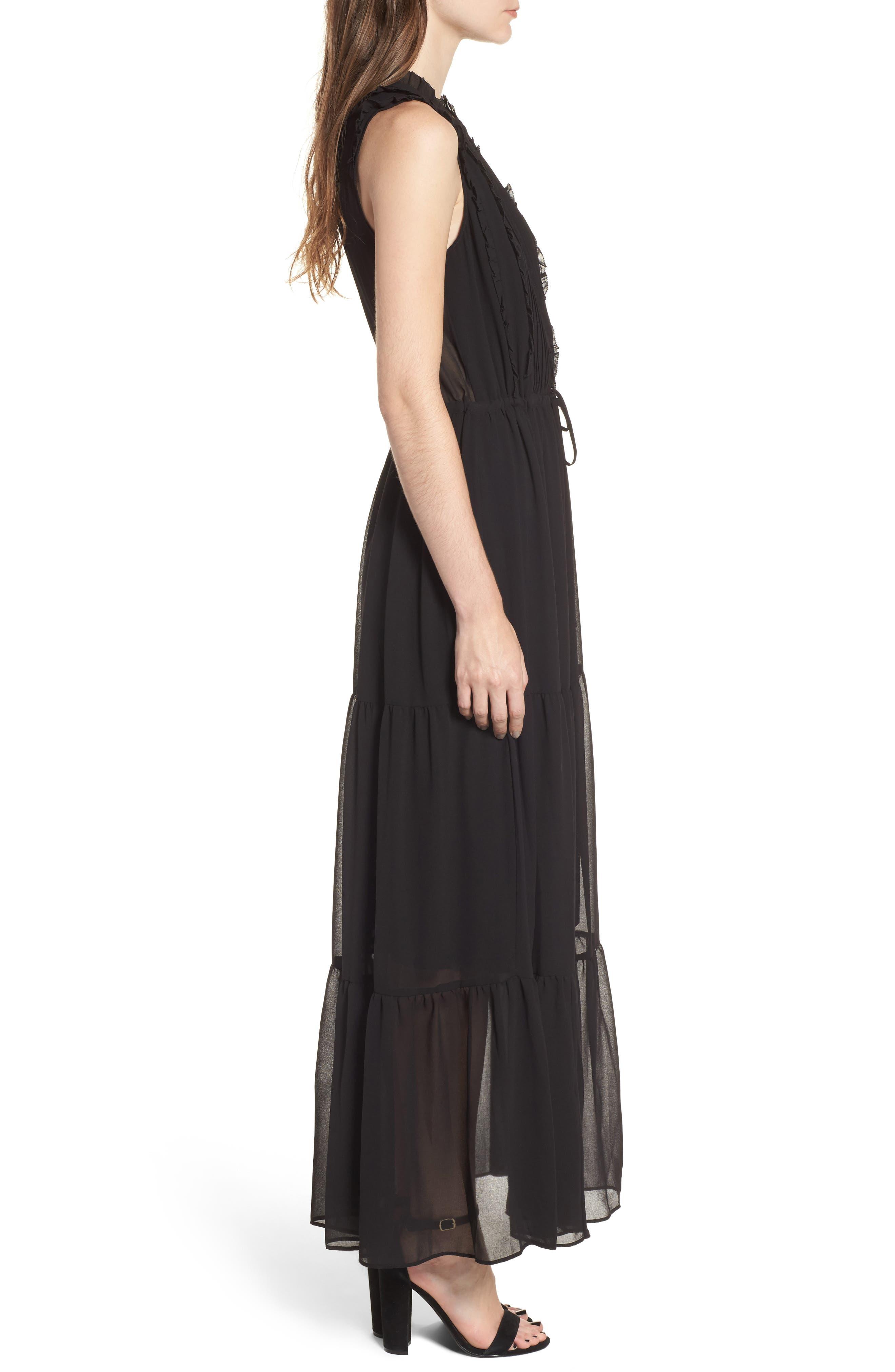 Ami Maxi Dress,                             Alternate thumbnail 3, color,                             Black