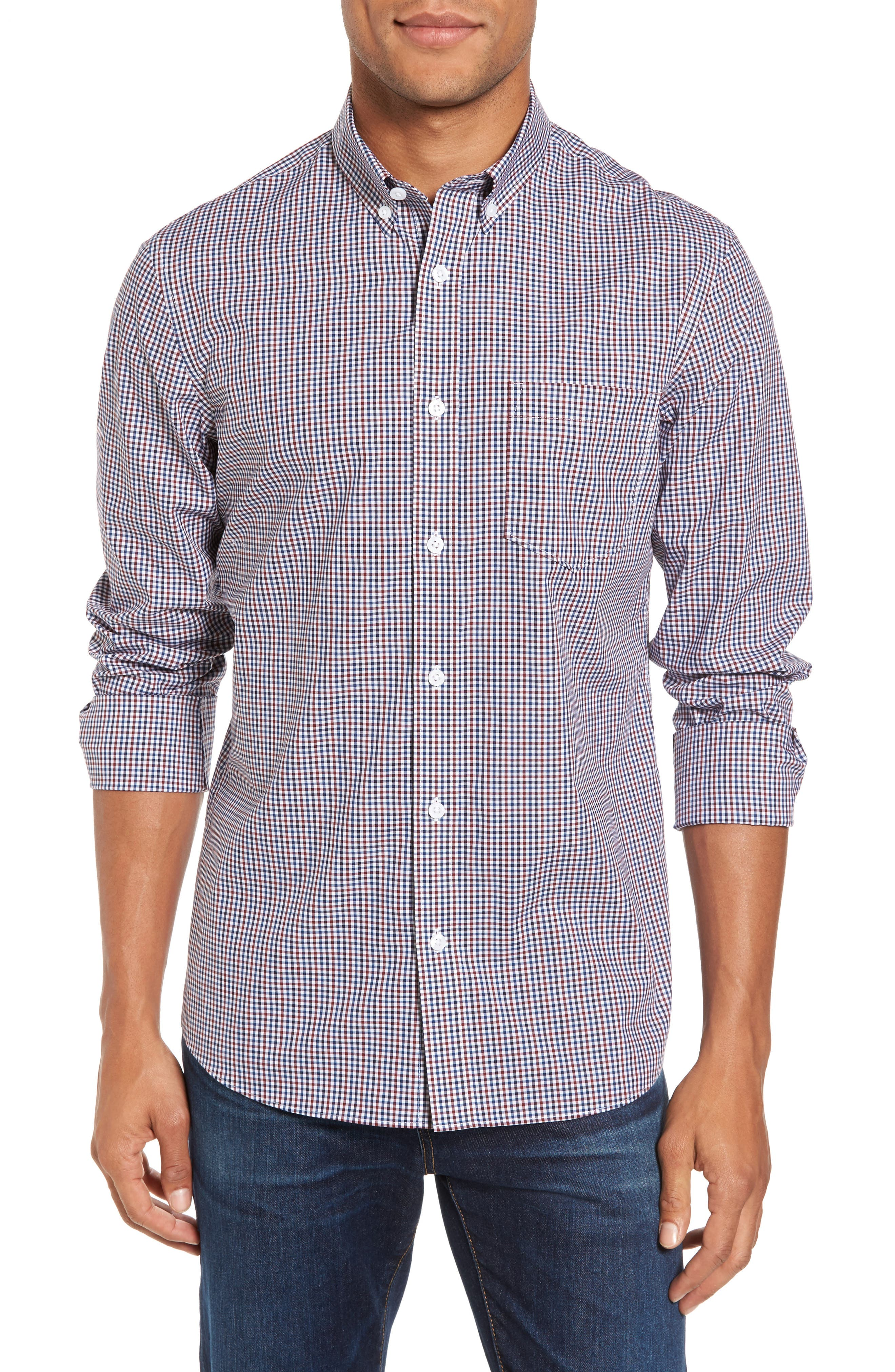 Alternate Image 1 Selected - Nordstrom Men's Shop Spade Trim Fit Non-Iron Mini Check Sport Shirt
