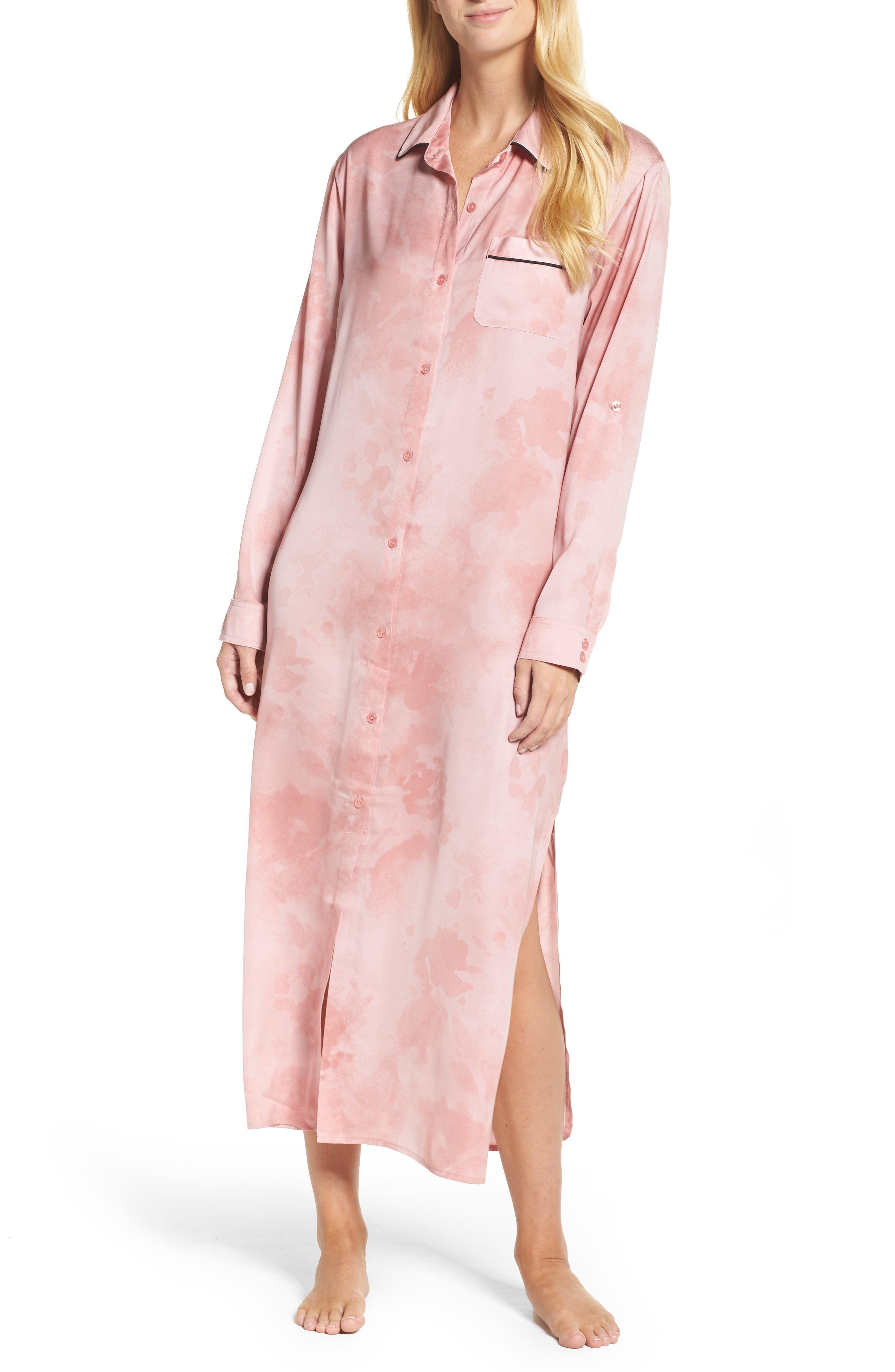 Washed Satin Maxi Sleep Shirt,                             Main thumbnail 1, color,                             Pink Floral