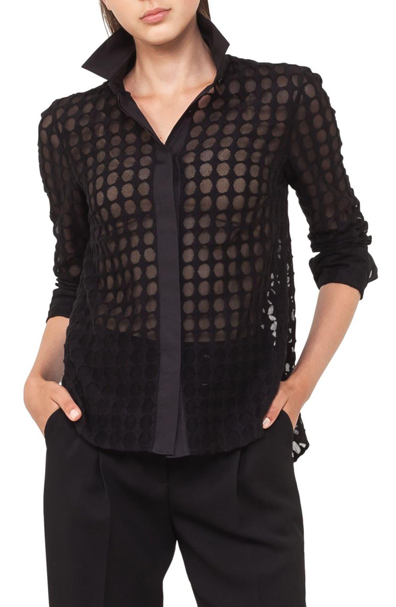 Kent Collar Dot Lace Blouse,                             Main thumbnail 1, color,                             Black