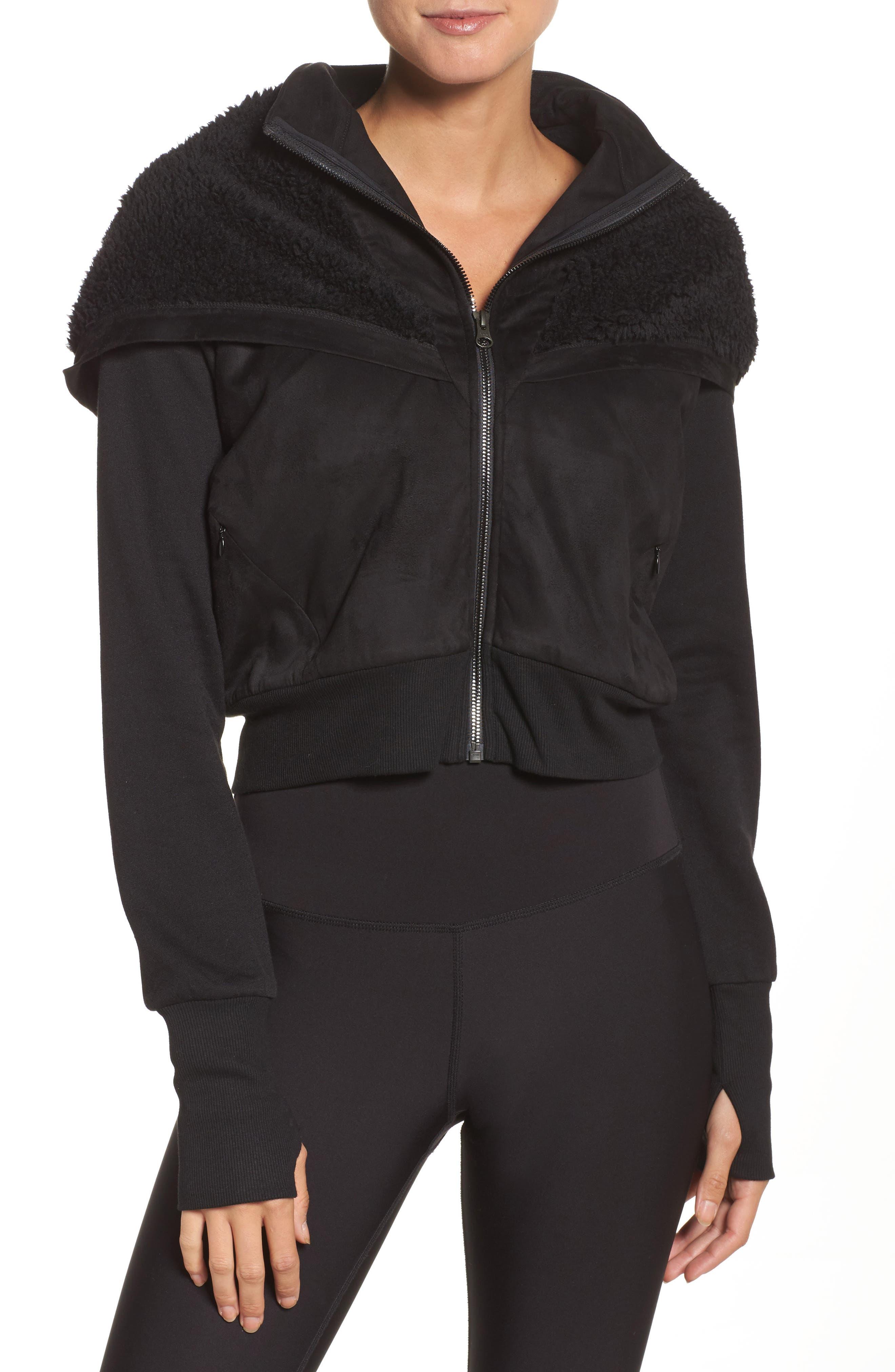 LA Winter Faux Fur Lined Jacket,                             Main thumbnail 1, color,                             Black
