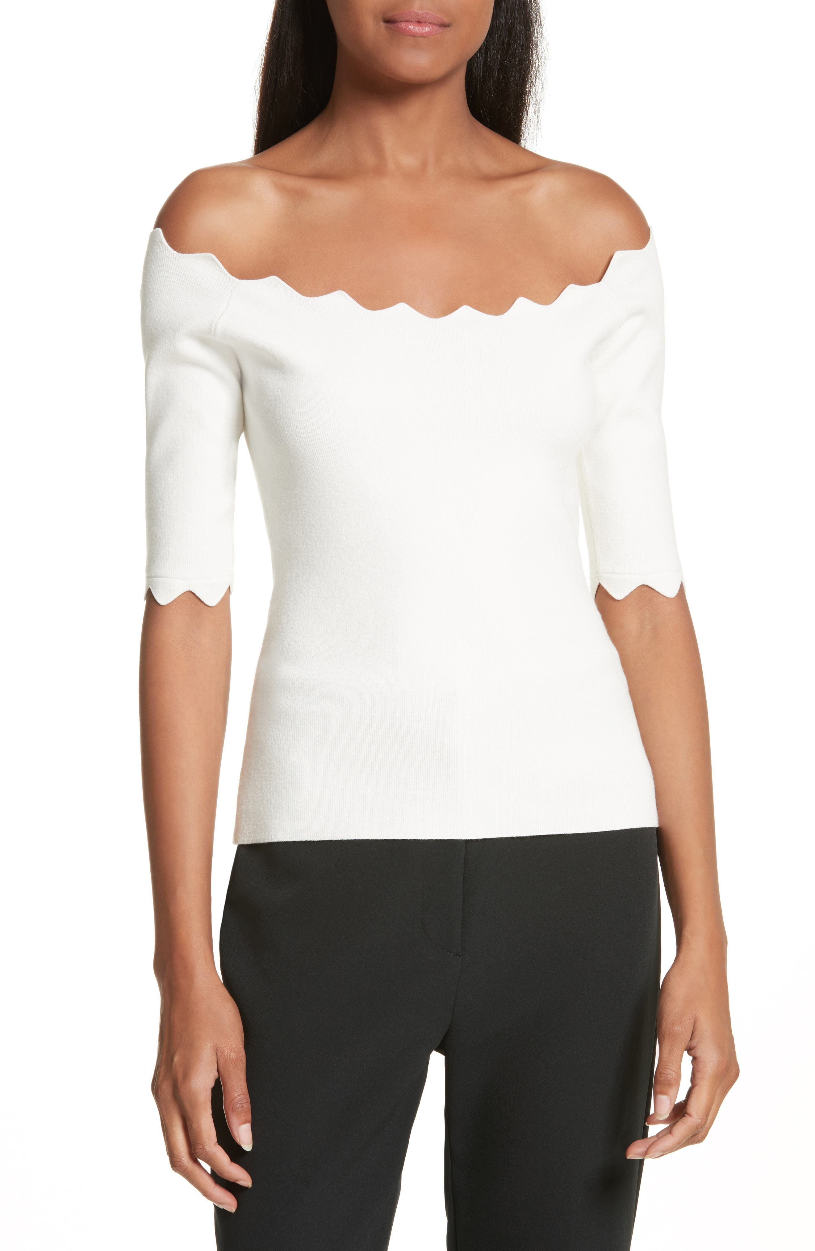 Scalloped Off the Shoulder Sweater,                         Main,                         color, White