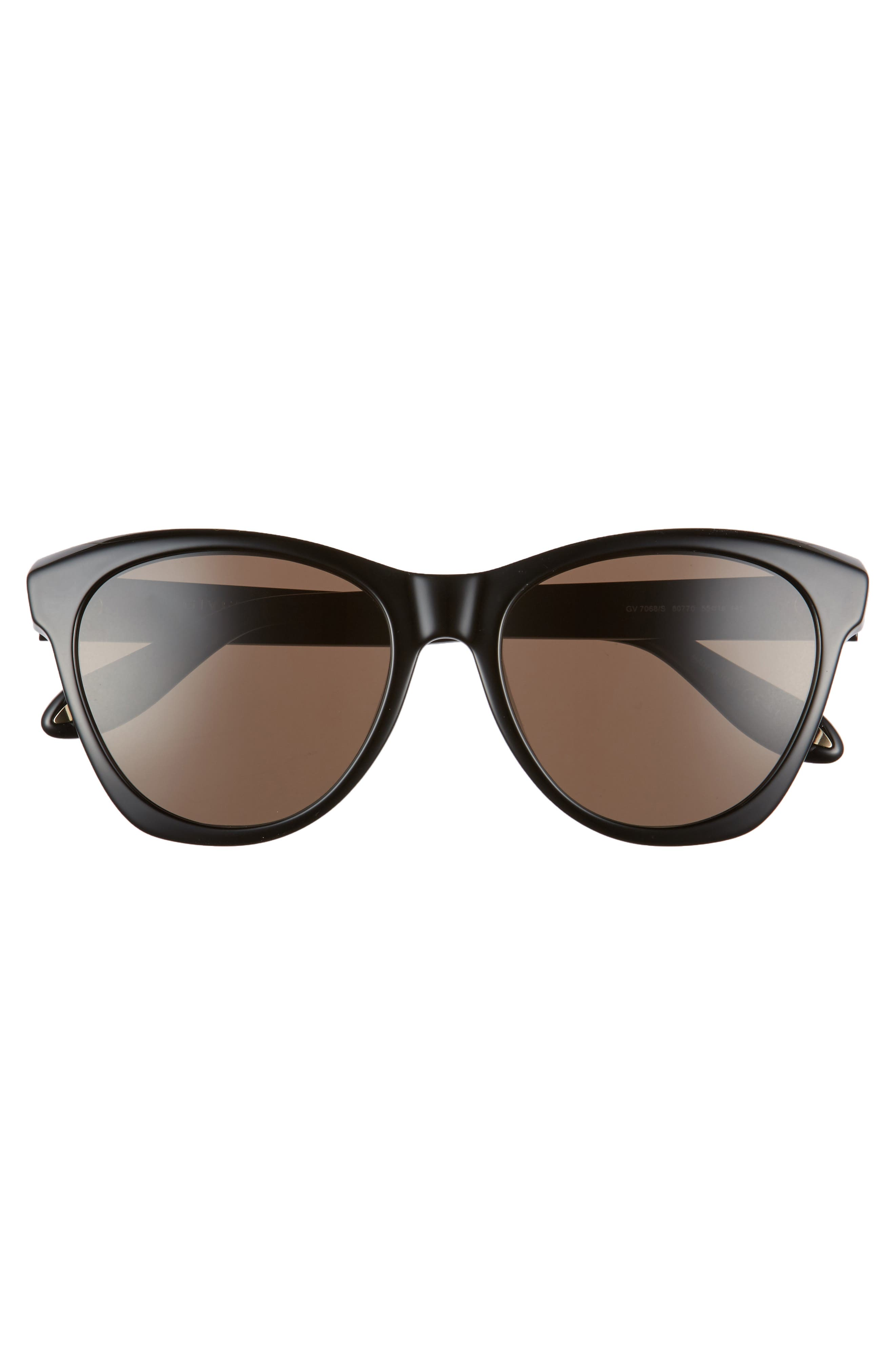 55mm Cat Eye Sunglasses,                             Alternate thumbnail 3, color,                             Black