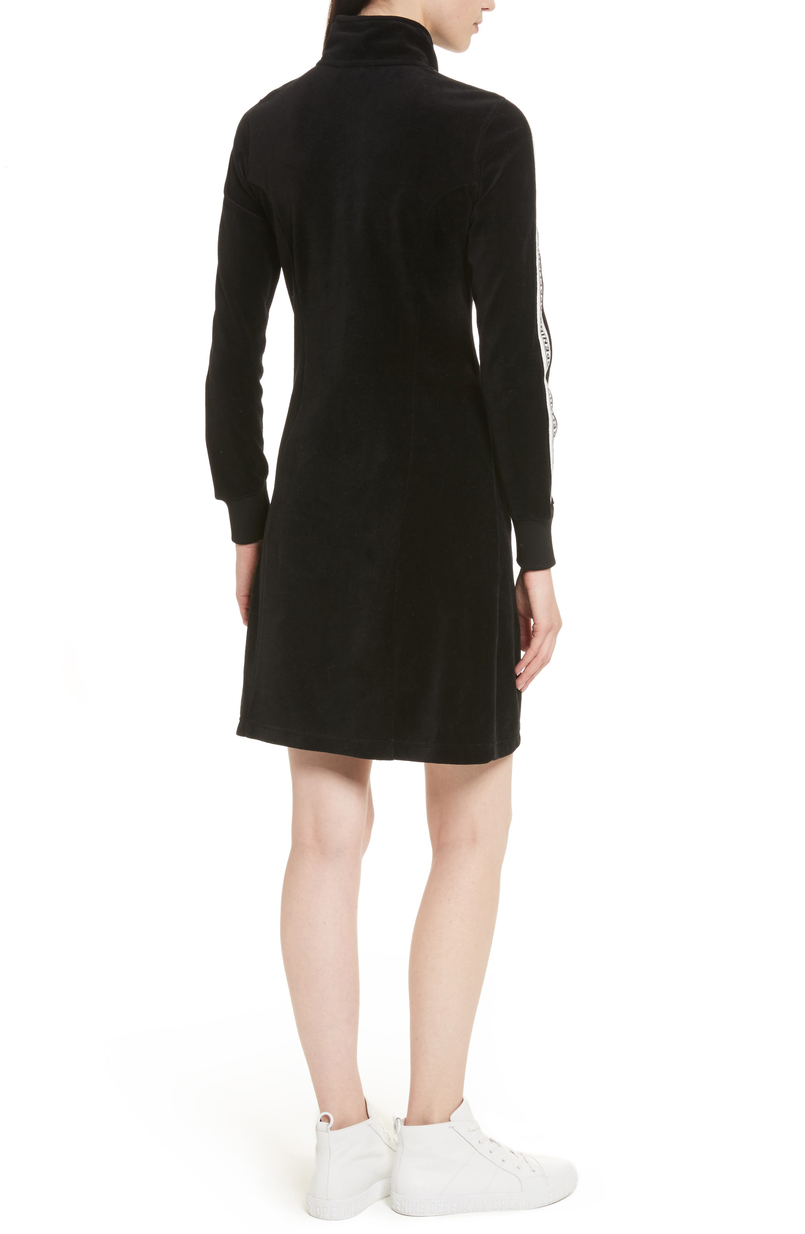 Velour Track Dress,                             Alternate thumbnail 2, color,                             Black