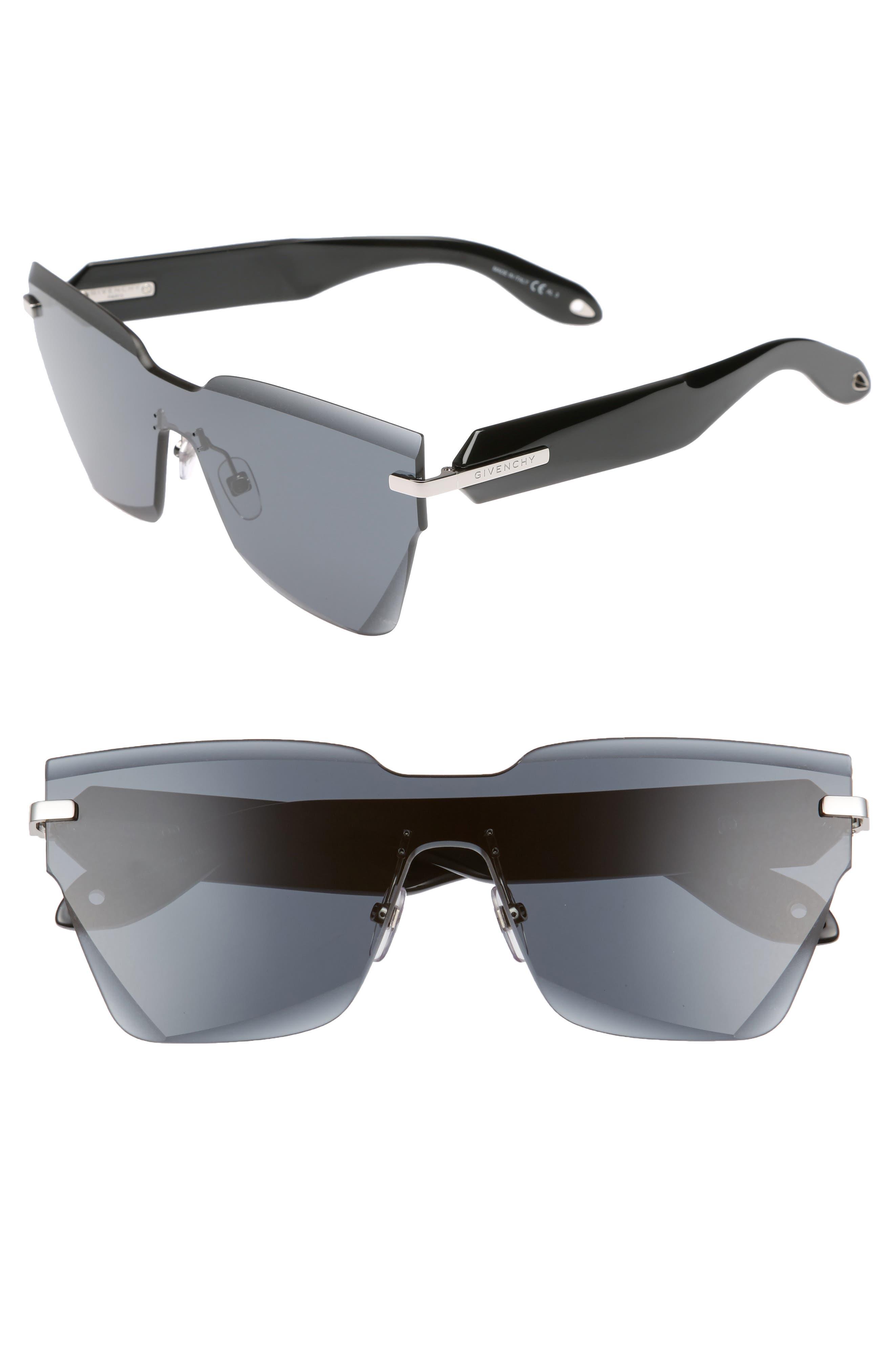 55mm Rimless Shield Sunglasses,                         Main,                         color, Grey Black