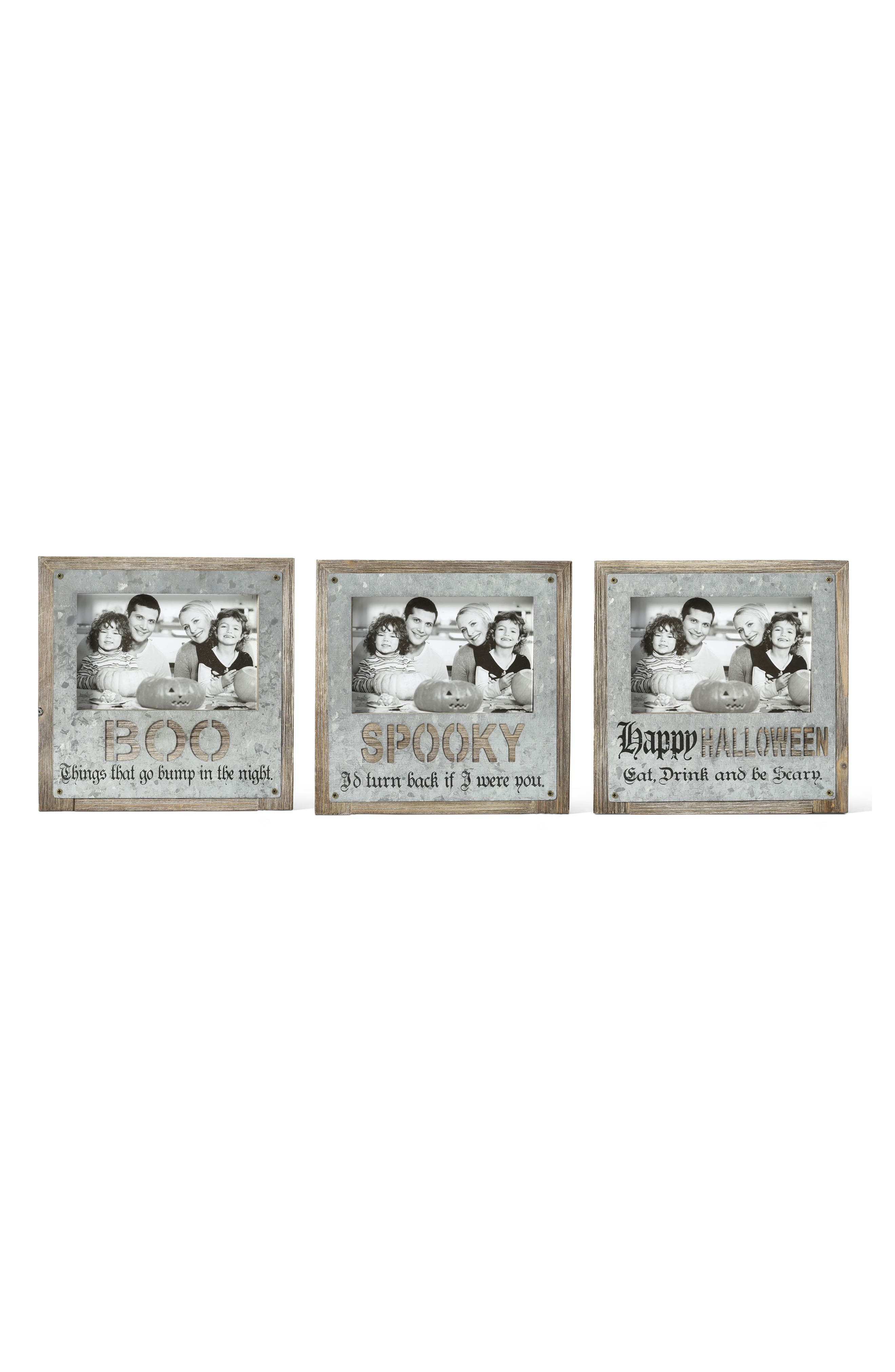 Halloween Set of 3 Picture Frames,                             Main thumbnail 1, color,                             Grey