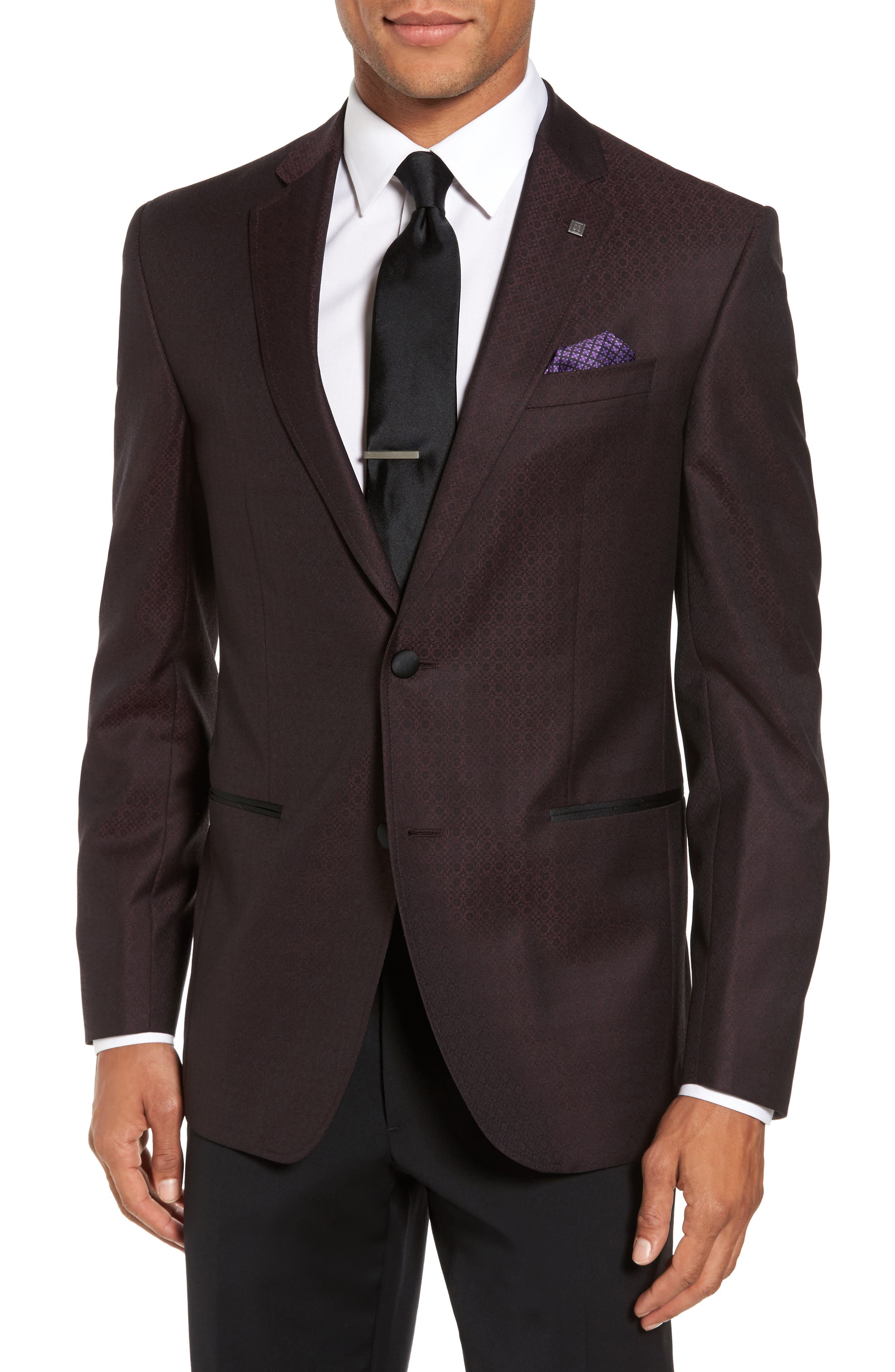 Jack Trim Fit Wool Dinner Jacket,                             Main thumbnail 1, color,                             Burgundy