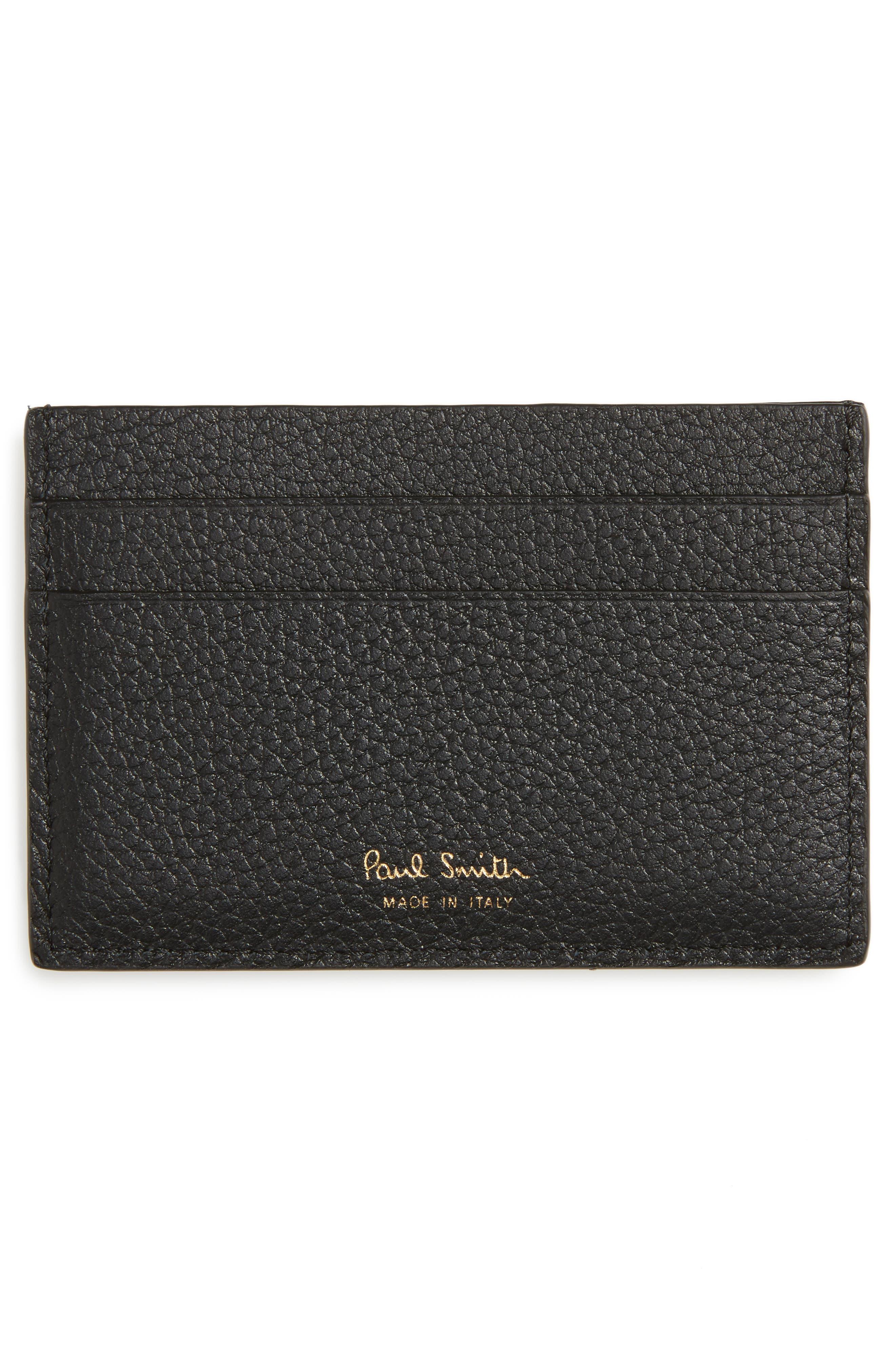Alternate Image 2  - Paul Smith Stripe Webbing Leather Card Case