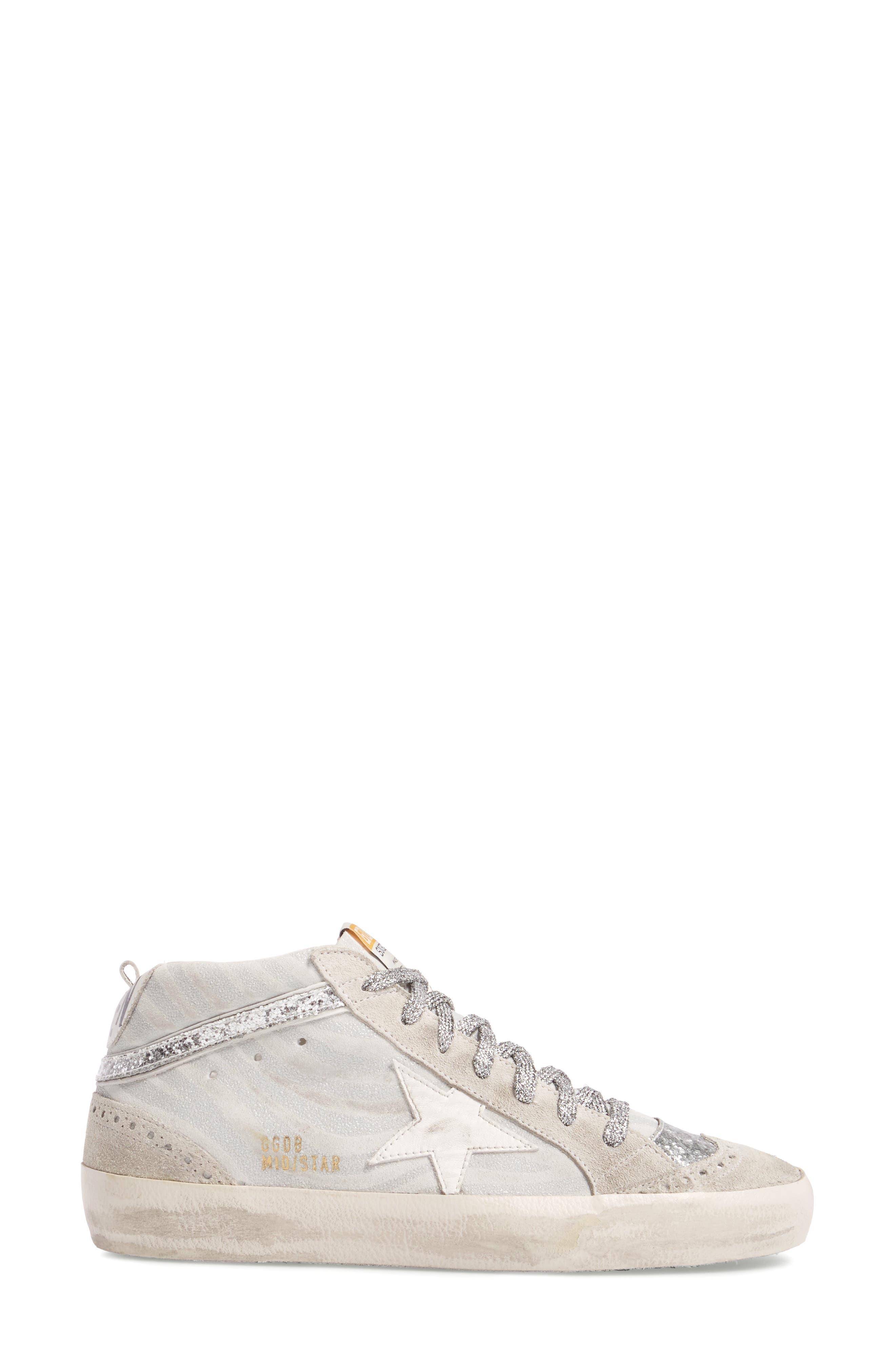 Star Mid Top Sneaker,                             Alternate thumbnail 3, color,                             White Zebra