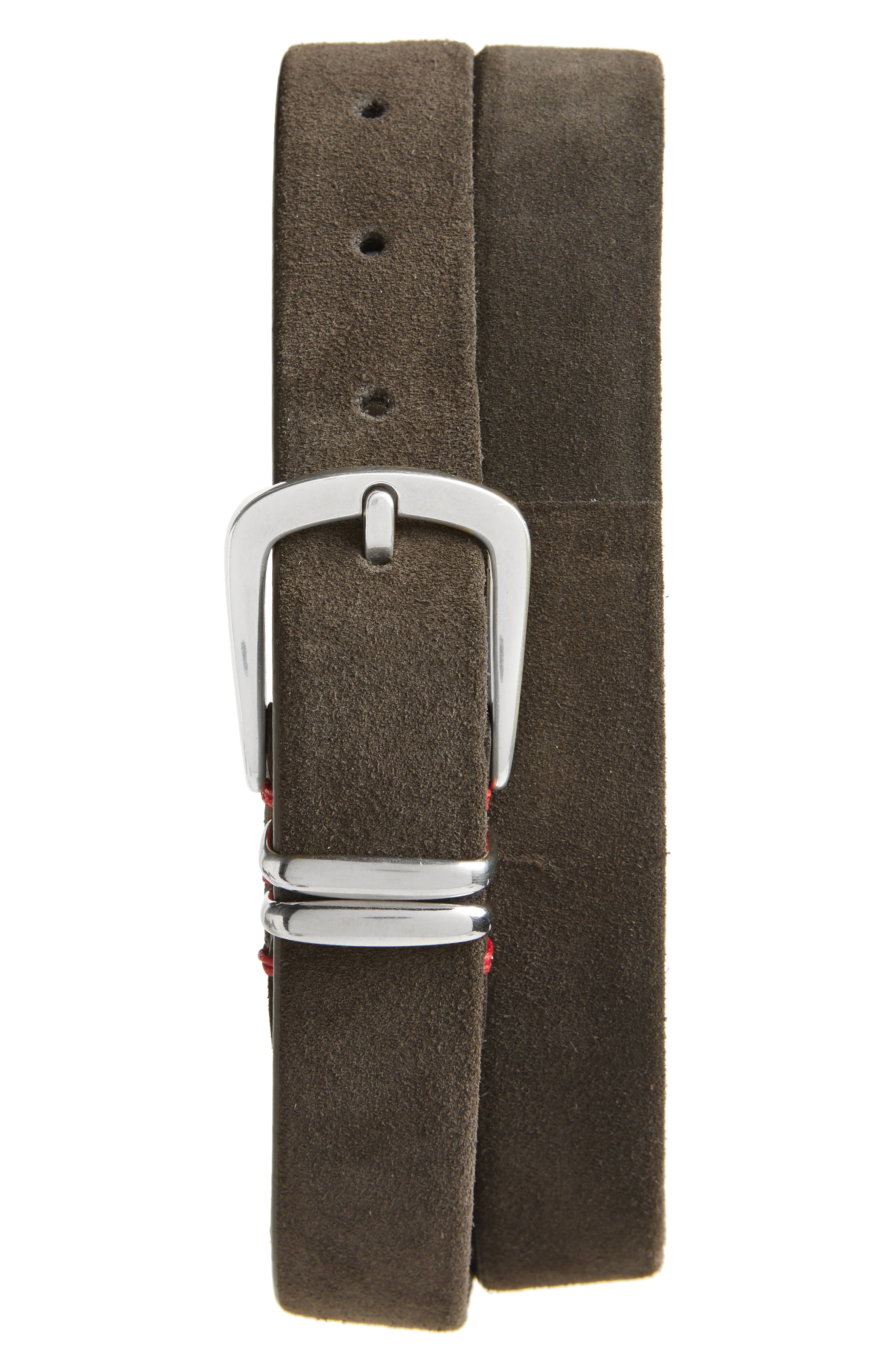 Stretch Suede Belt,                         Main,                         color, Brown