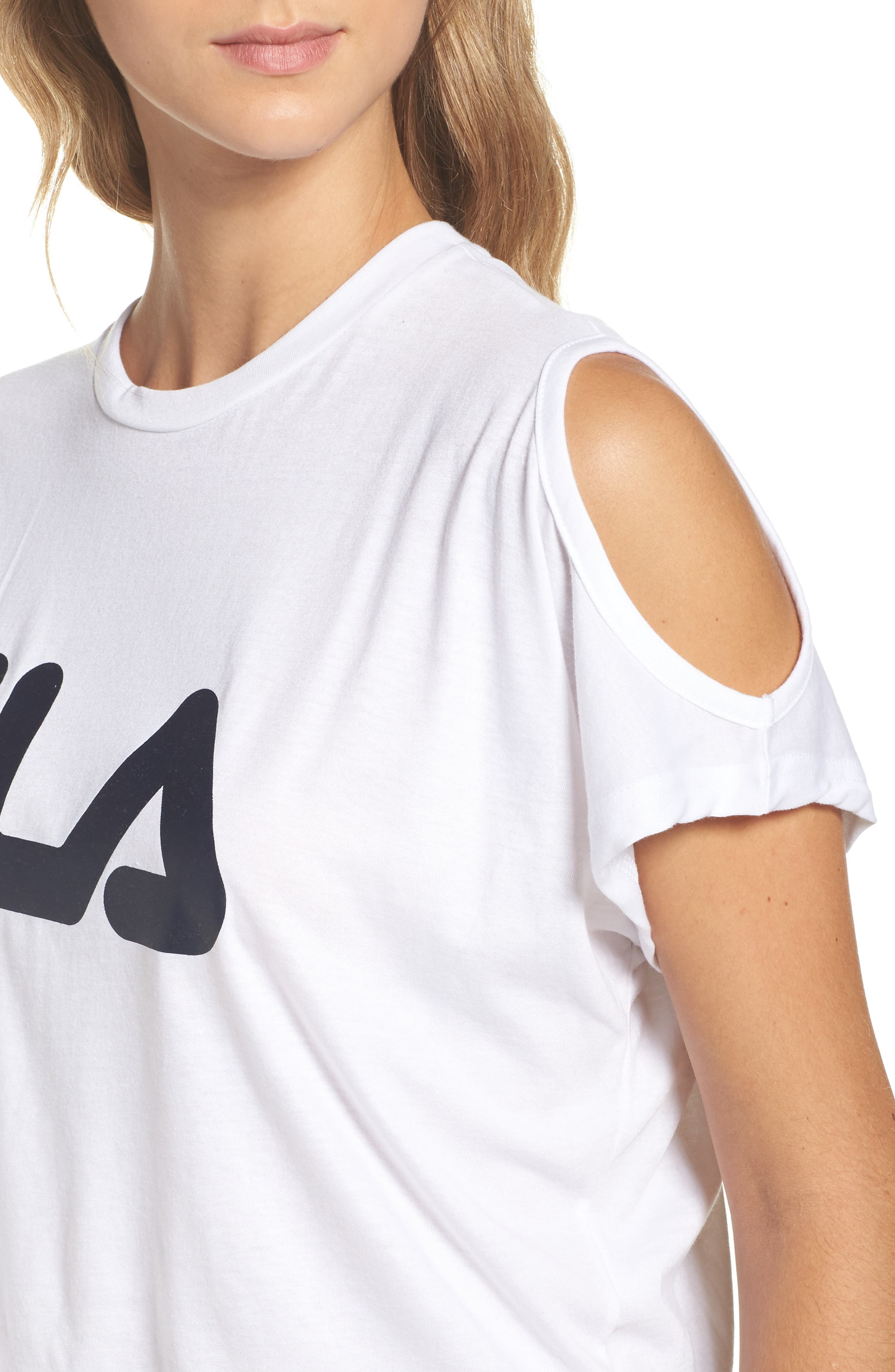 Alternate Image 4  - FILA Nikki Cold Shoulder Crop Tee