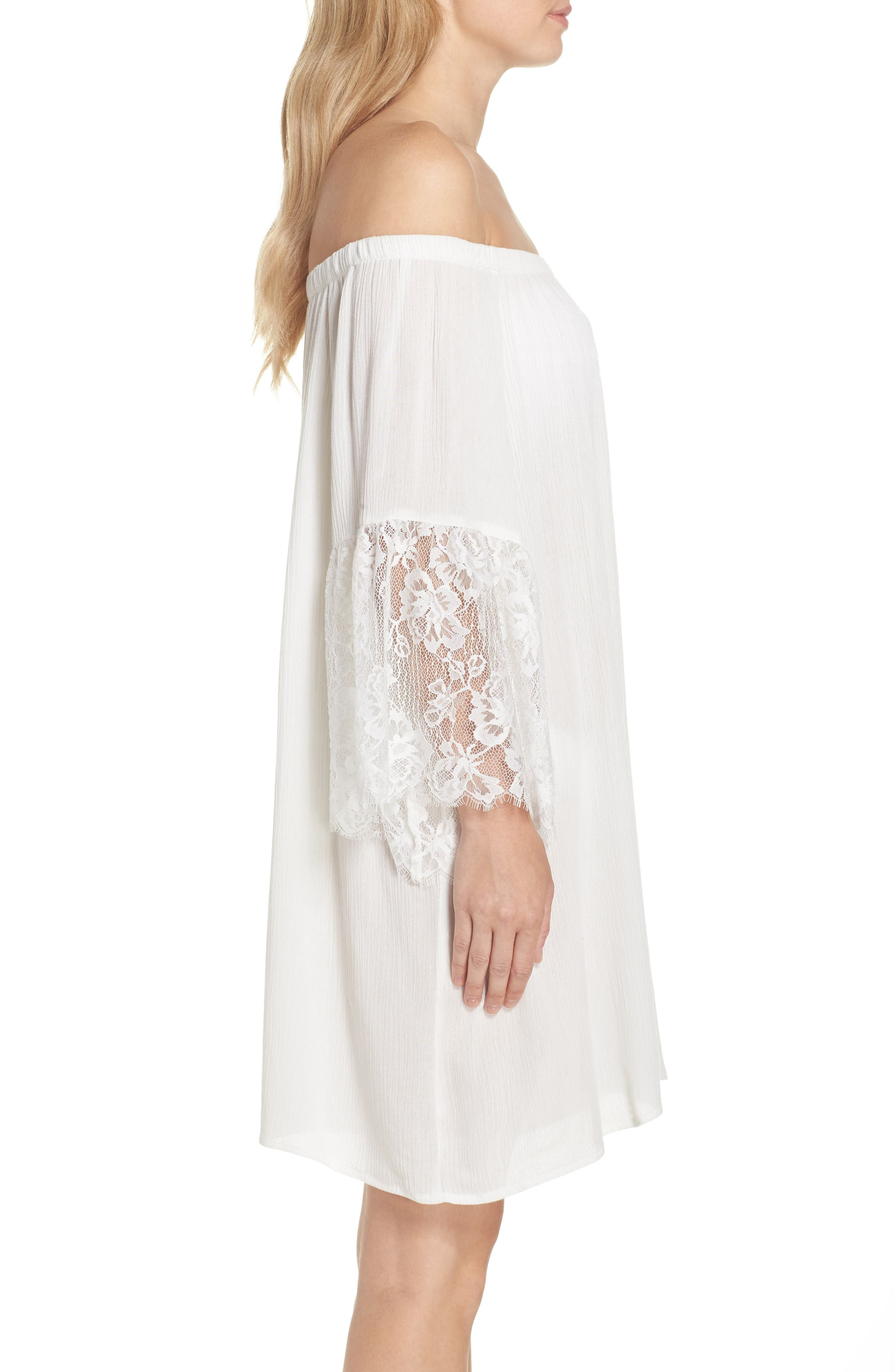 Off the Shoulder Cover-Up Dress,                             Alternate thumbnail 4, color,                             Ivory Egret