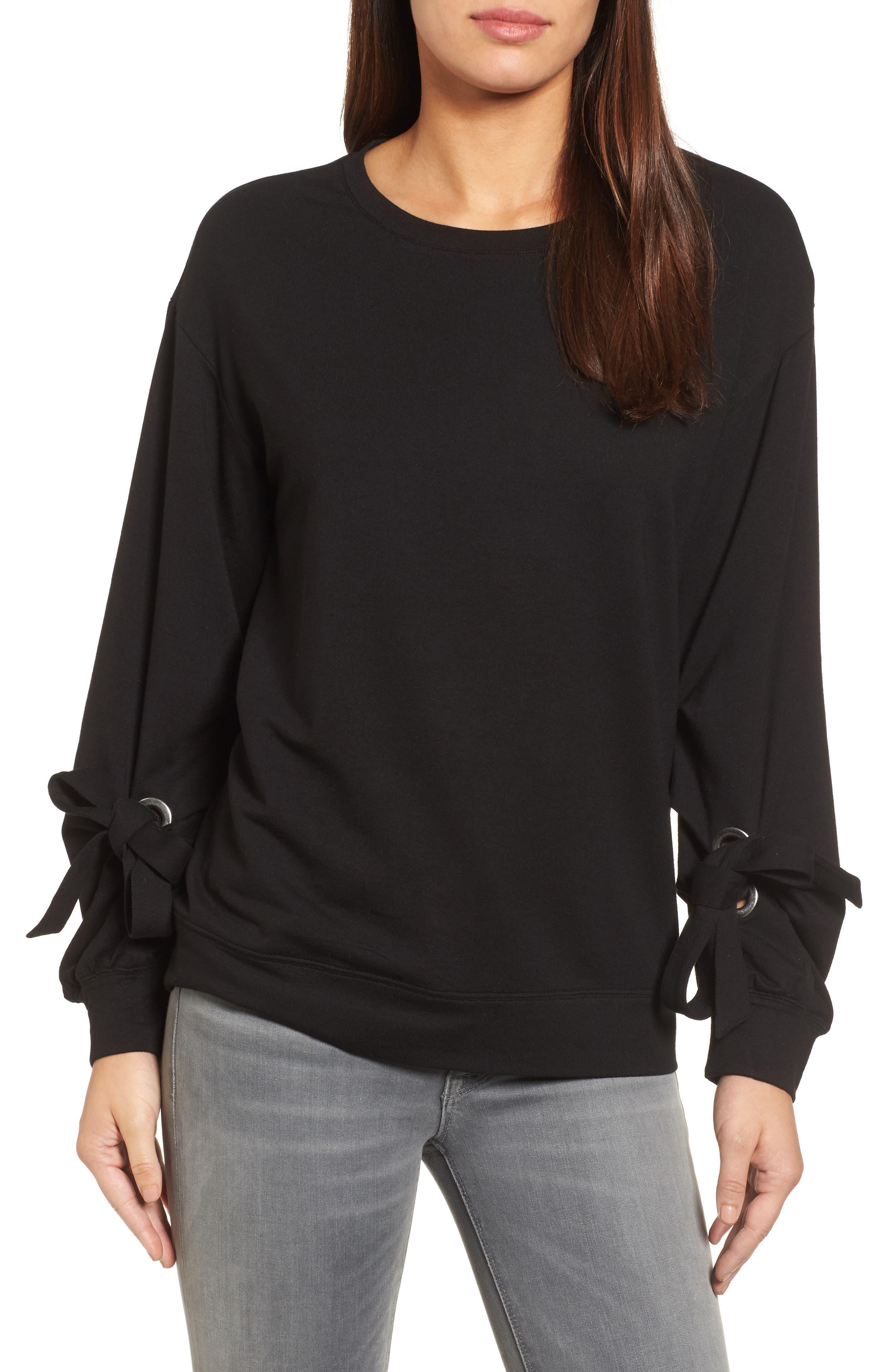 Grommet Tie Sleeve Sweatshirt,                         Main,                         color, Black