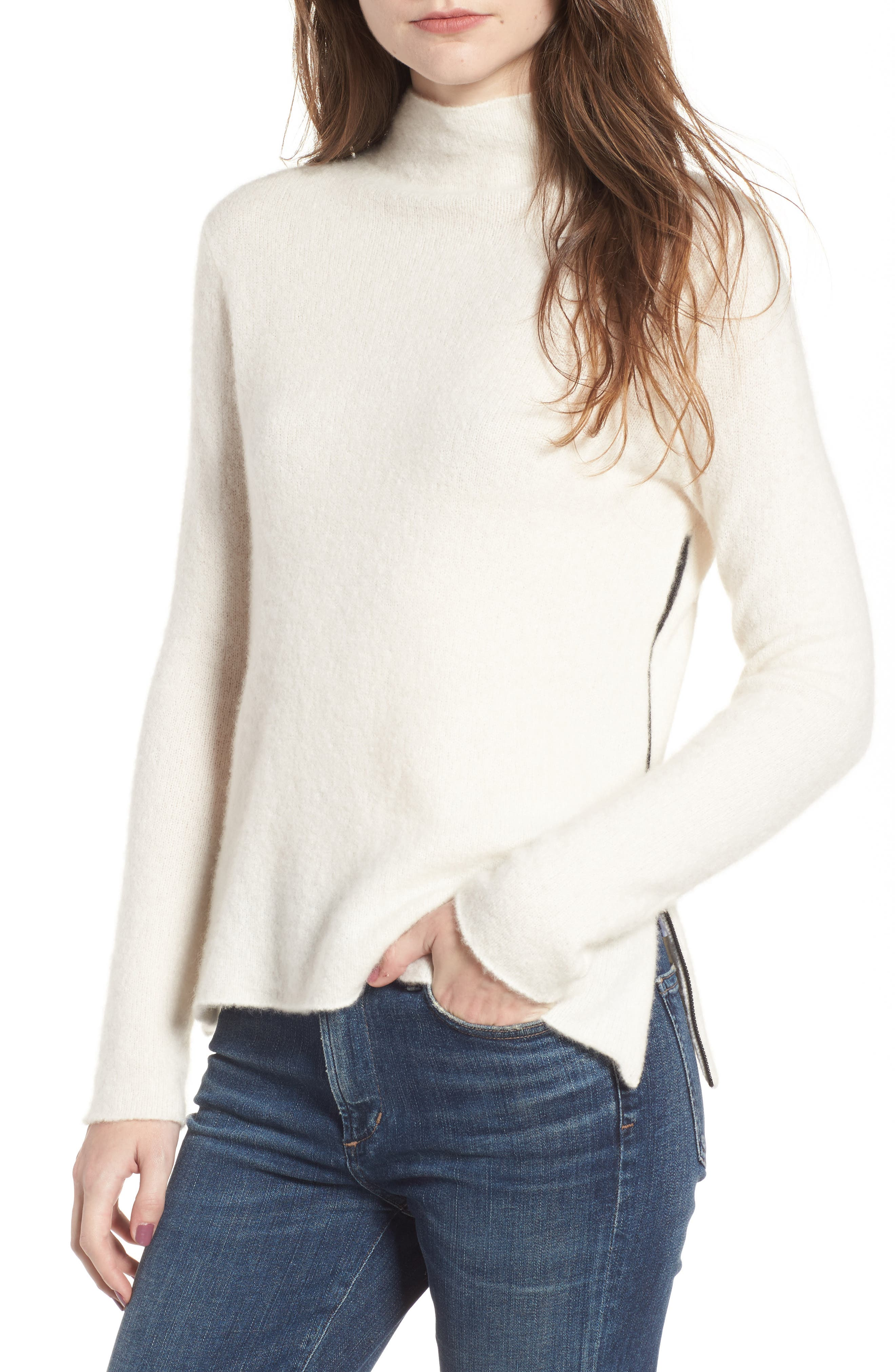 Stretch Cashmere Mock Neck Sweater,                         Main,                         color, Ivory