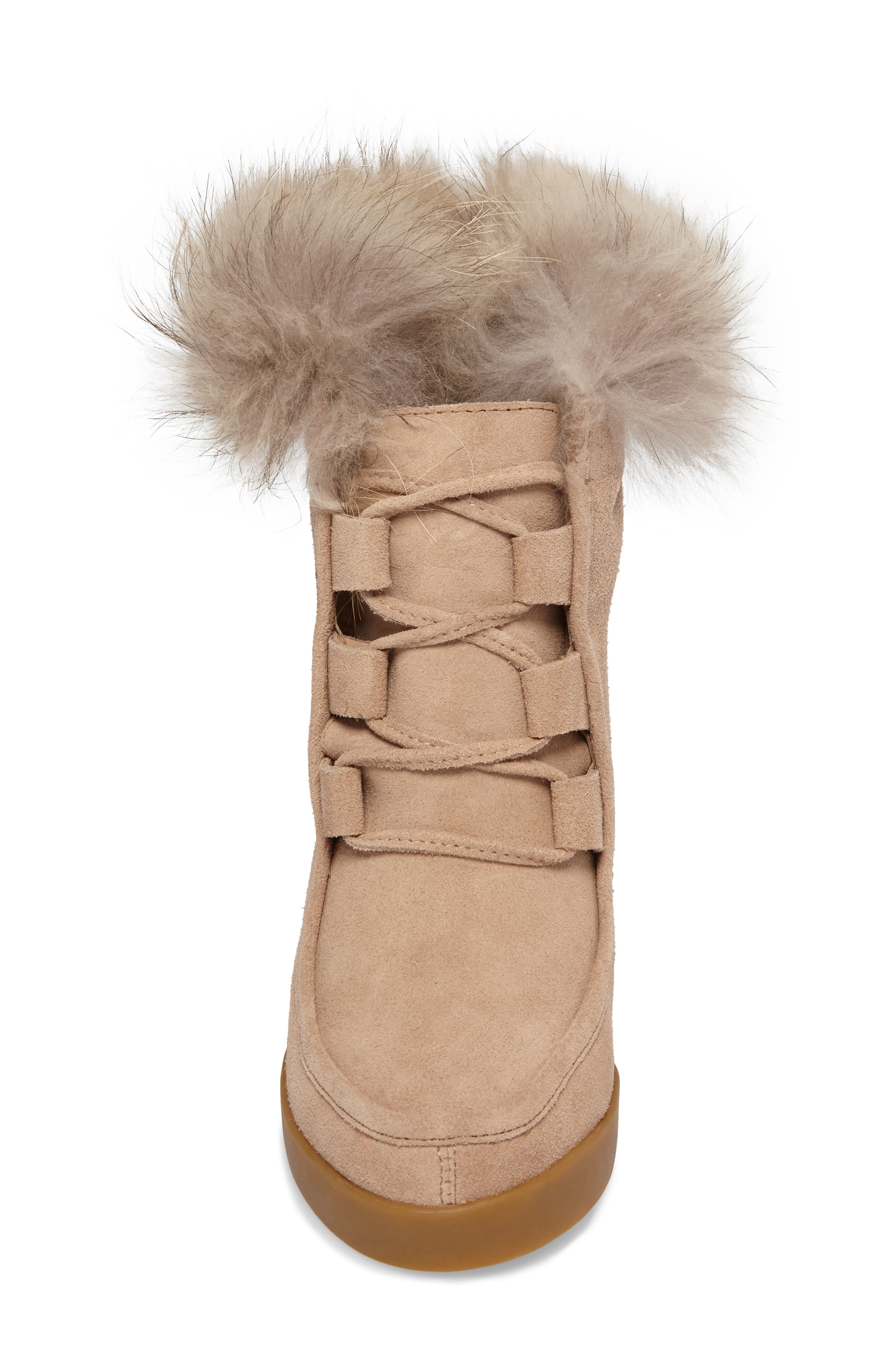 Holly Wedge Bootie with Genuine Fox Fur Trim,                             Alternate thumbnail 4, color,                             Natural Suede