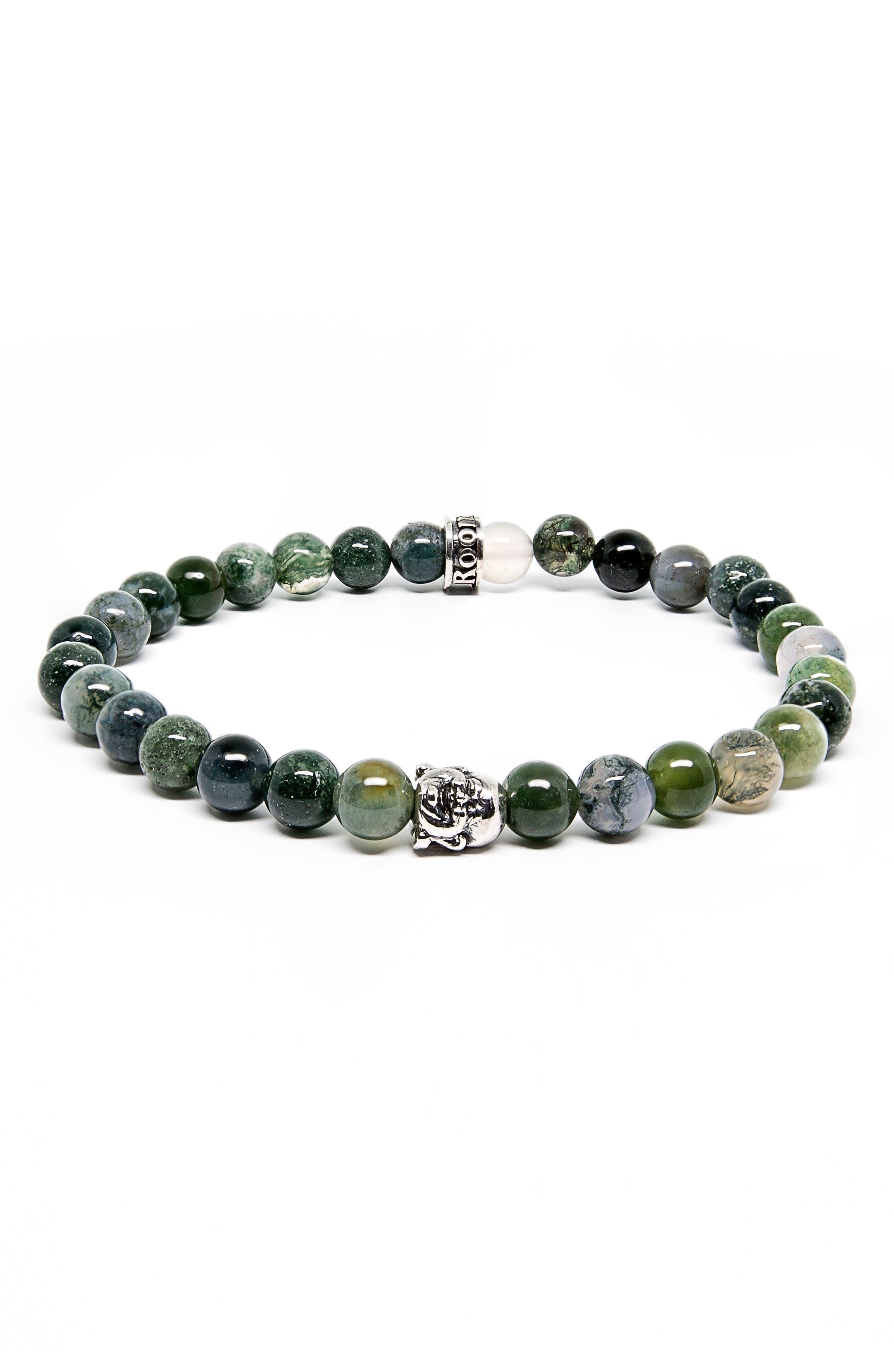 Moss Agate Buddha Stretch Bracelet,                             Main thumbnail 1, color,                             Green