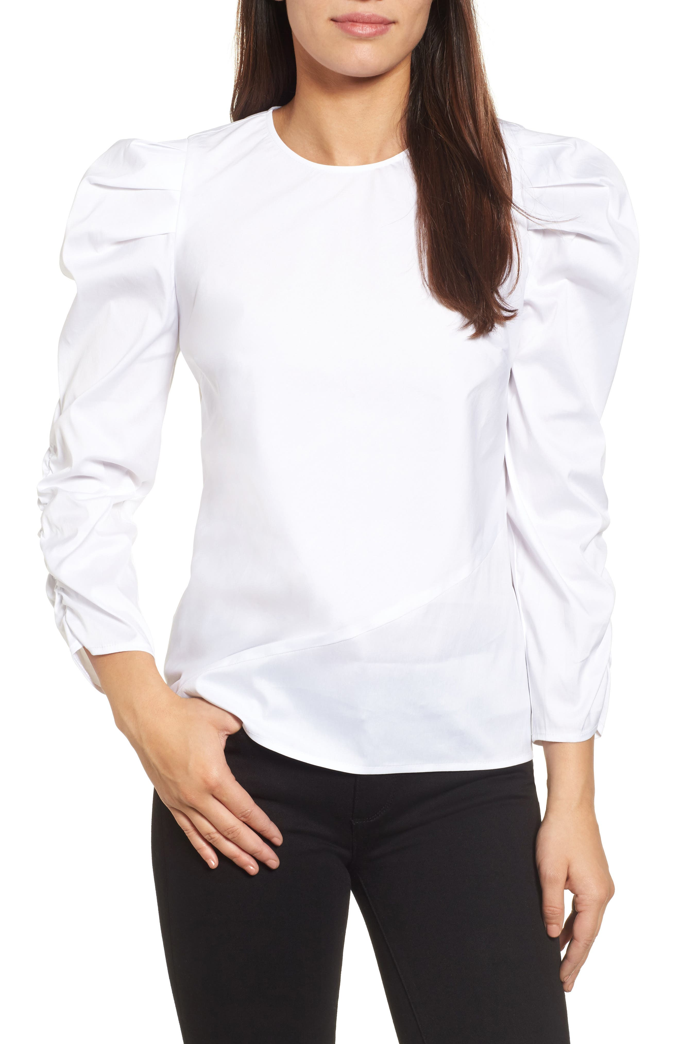 Ruched Sleeve Poplin Top,                         Main,                         color, White