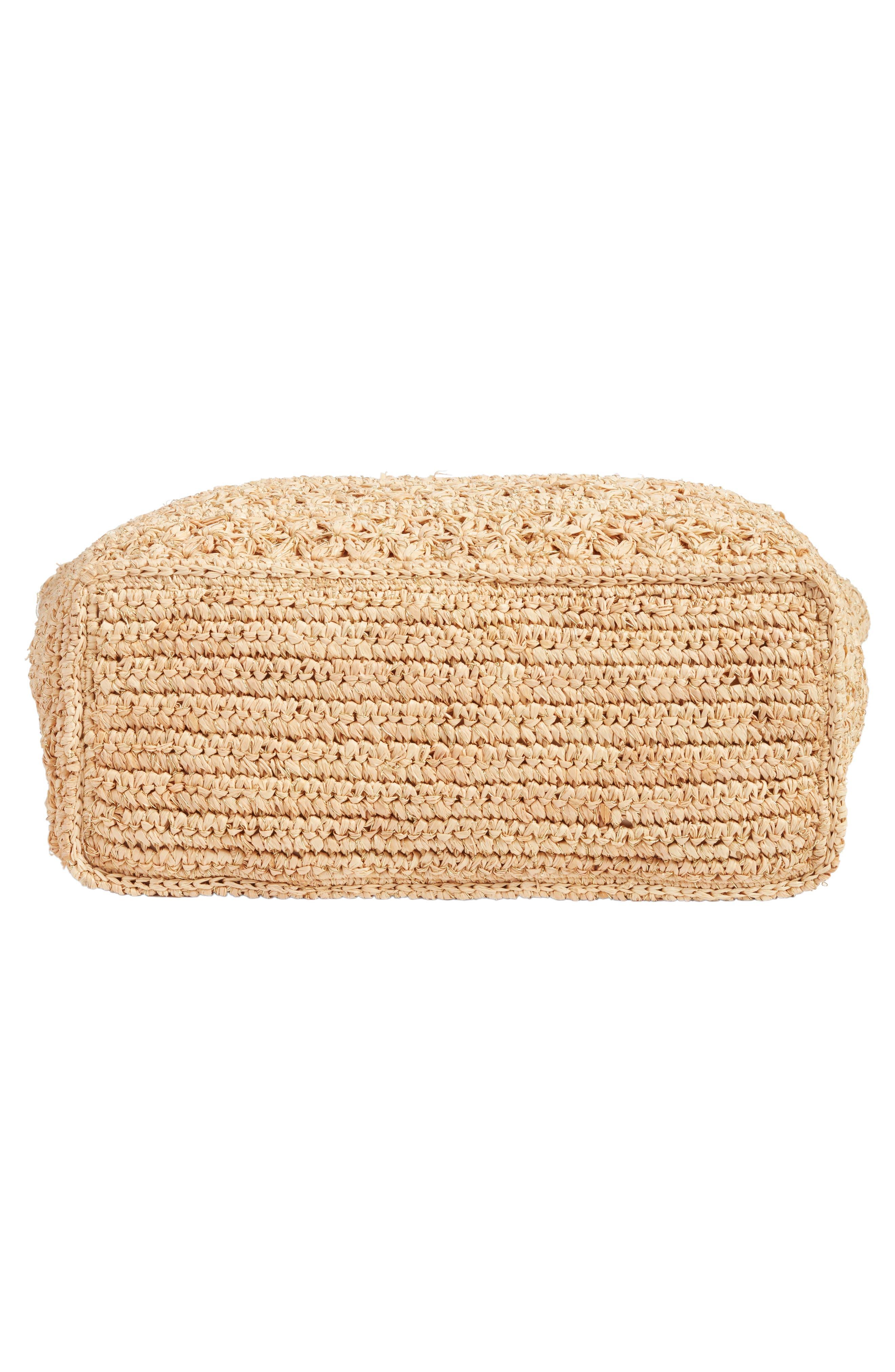 Packable Raffia Crochet Tote,                             Alternate thumbnail 6, color,                             Natural/ Gold