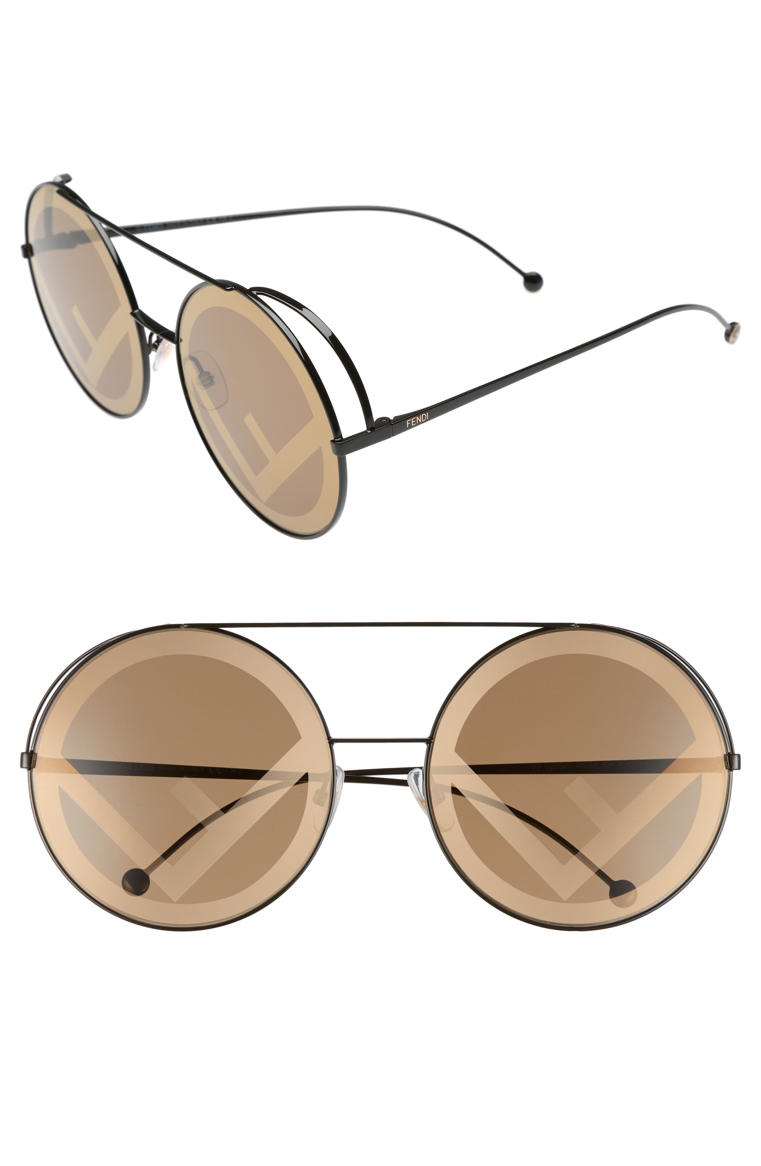 Run Away 63mm Round Sunglasses,                             Main thumbnail 1, color,                             Brown