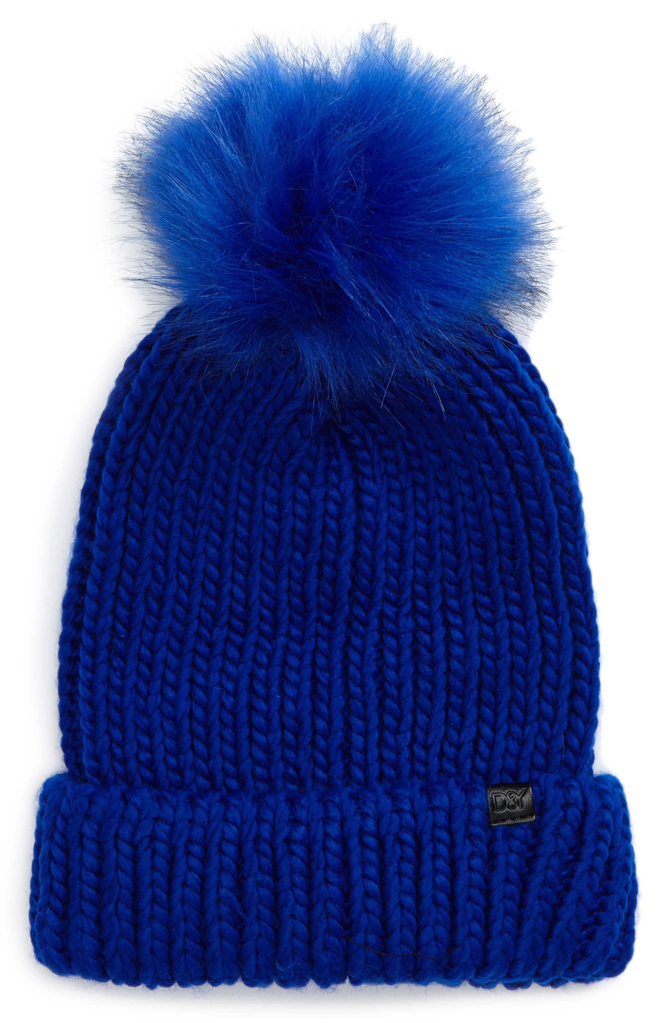 Main Image - David & Young Faux Fur Pom Chunky Beanie