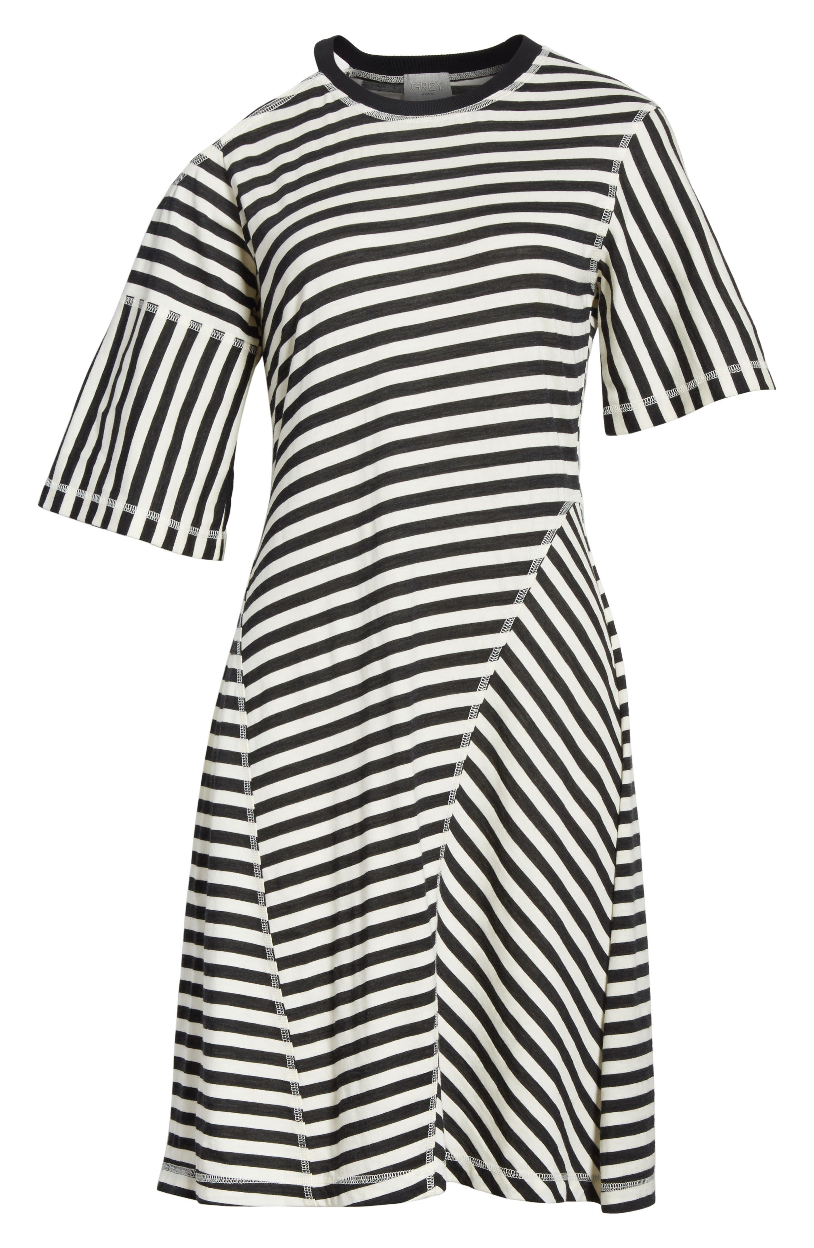 Stripe Jersey Cold Shoulder Dress,                             Alternate thumbnail 6, color,                             Black/ Cream