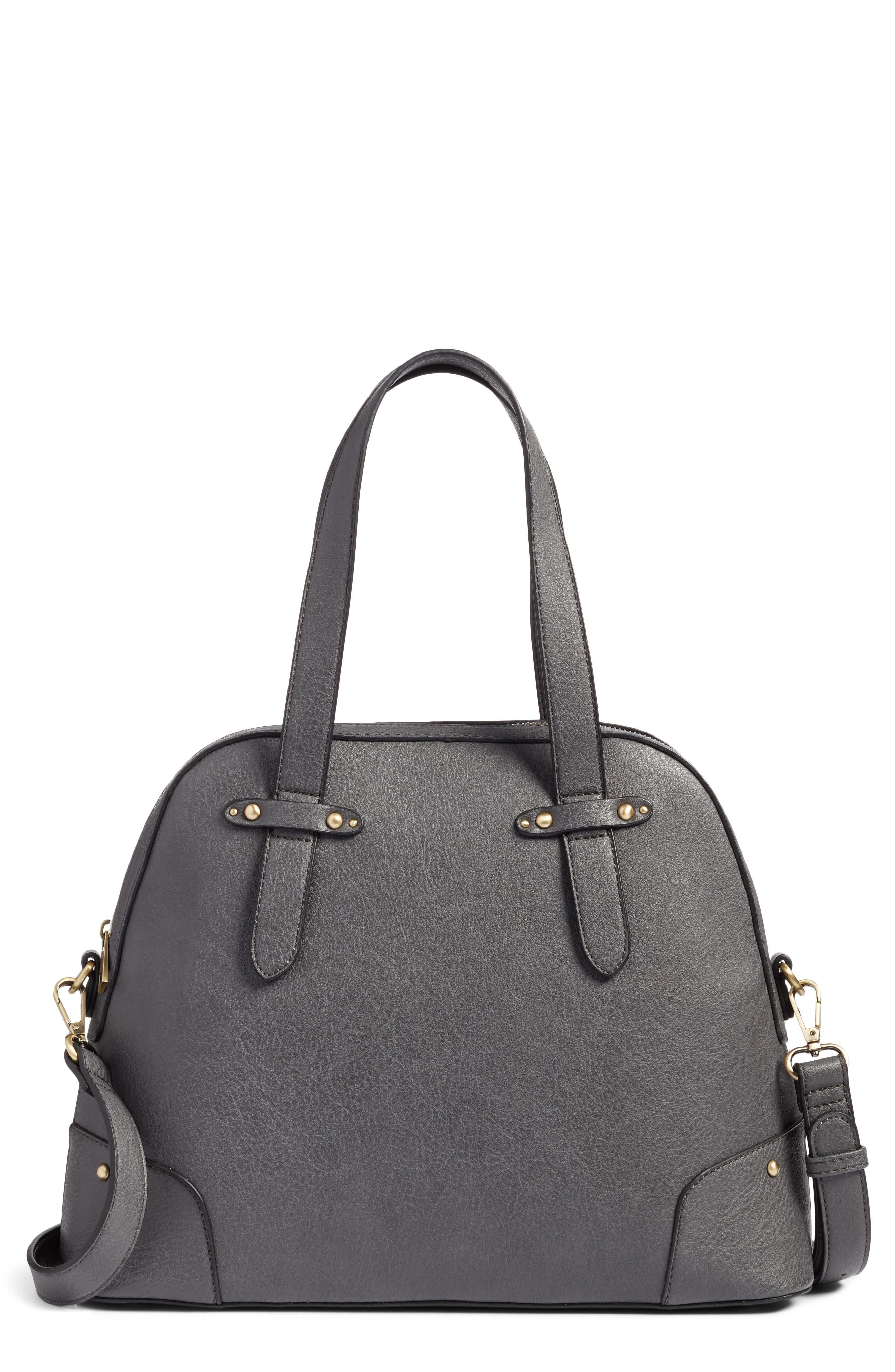 Christie Faux Leather Satchel,                             Main thumbnail 1, color,                             Grey