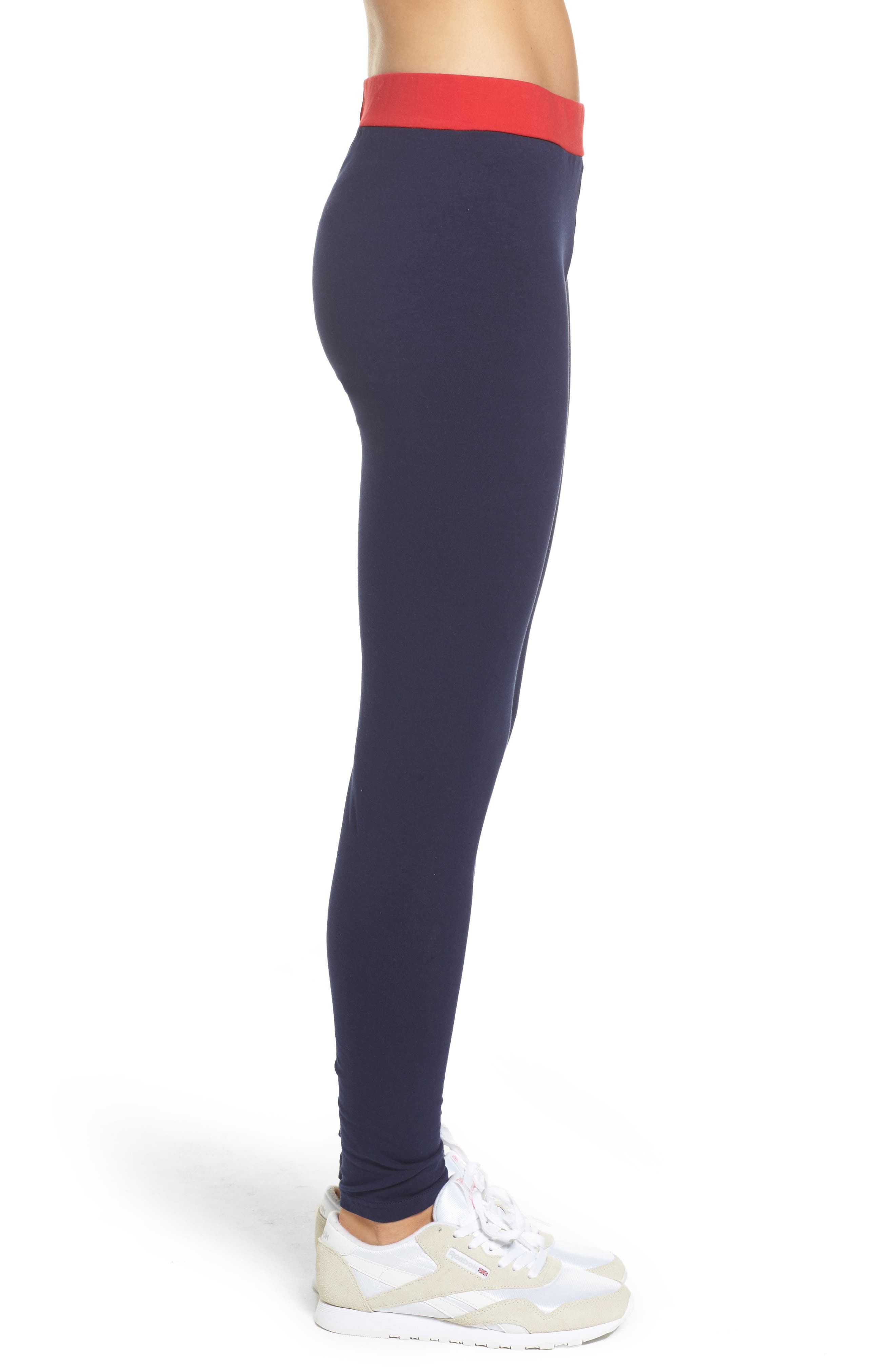 Imelda Training Tights,                             Alternate thumbnail 3, color,                             Navy/ Chinese Red/ White