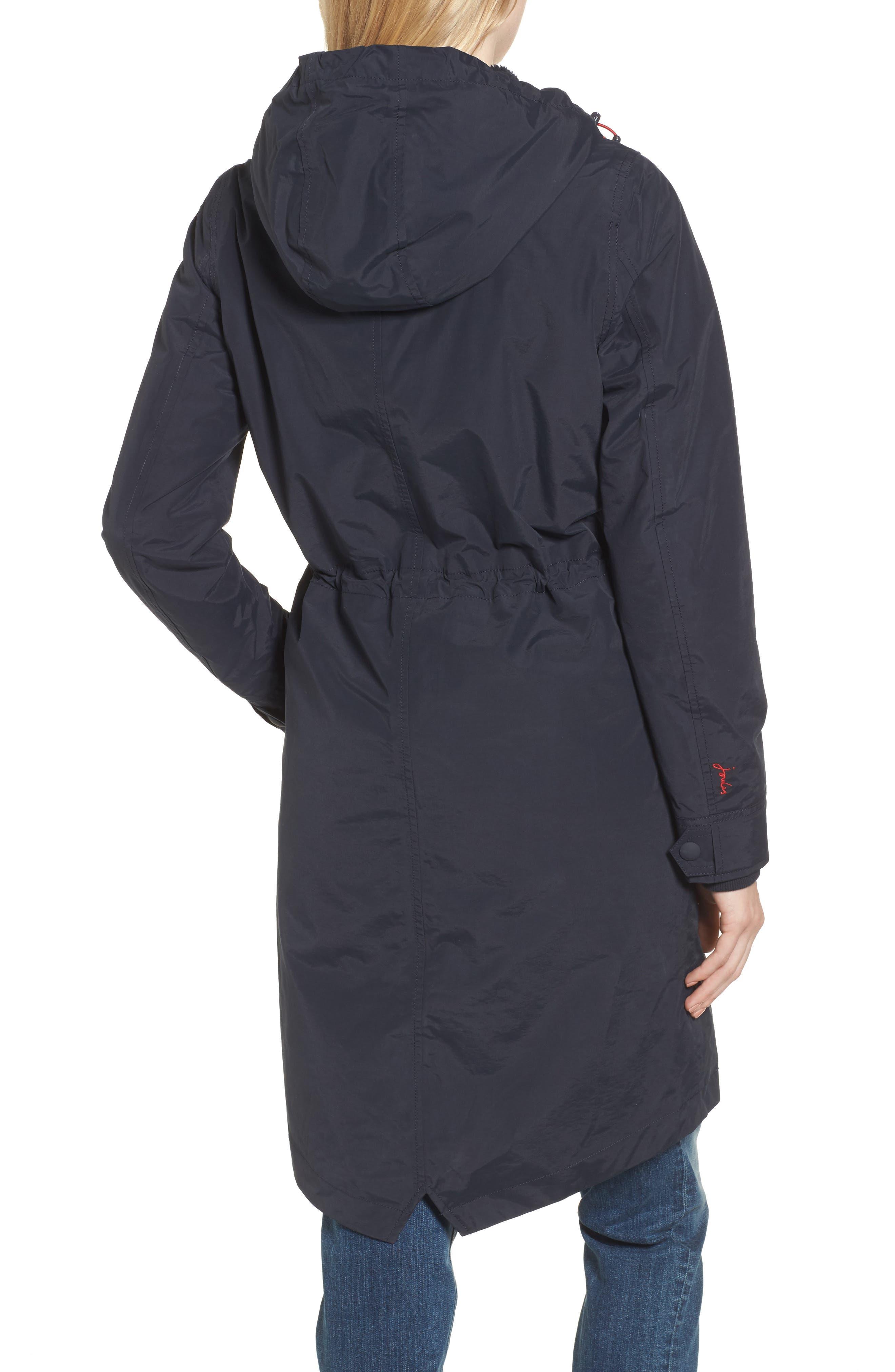Hooded Fleece Lined Raincoat,                             Alternate thumbnail 2, color,                             Marine Navy