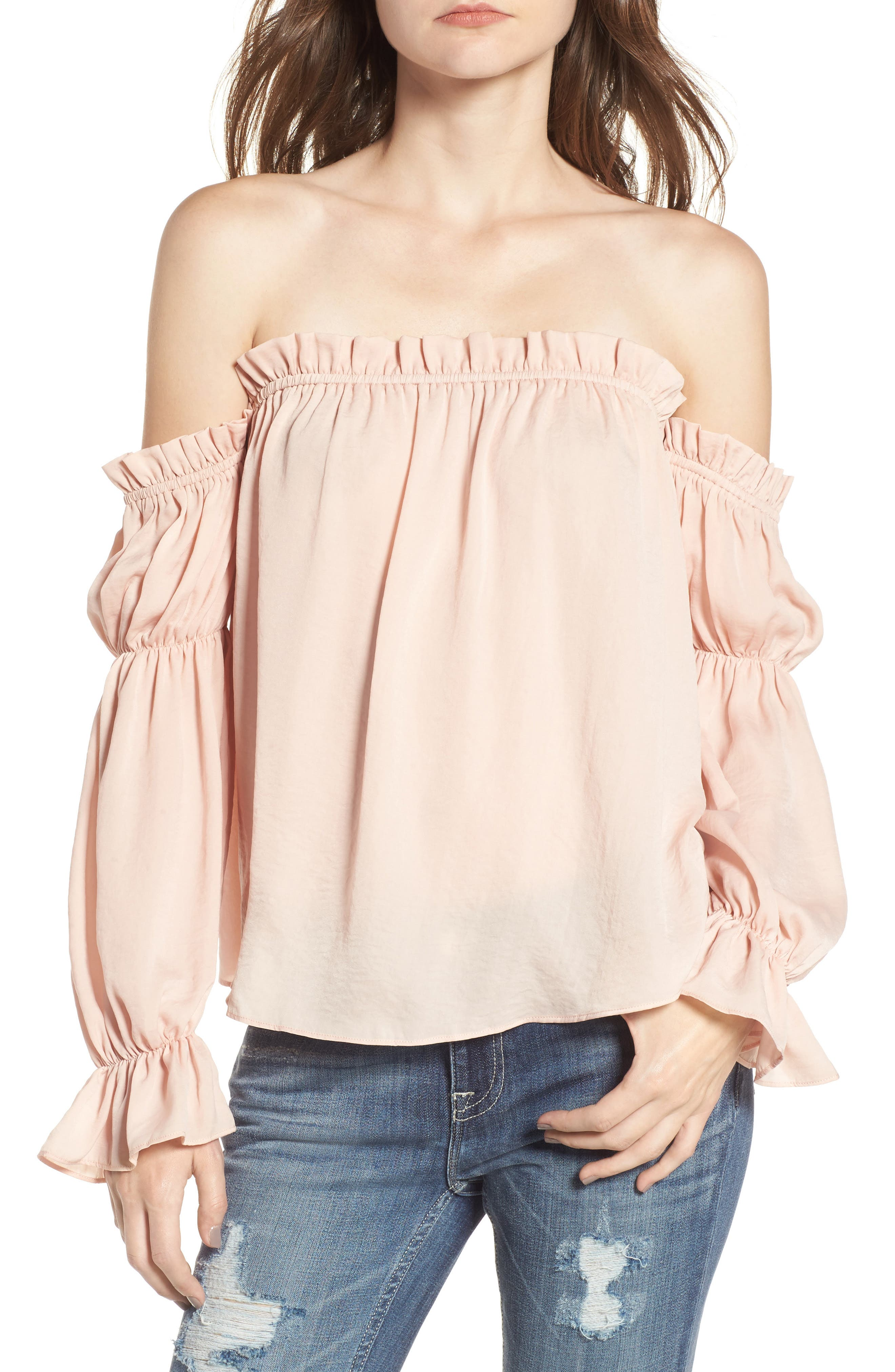Off the Shoulder Cinched Blouse,                         Main,                         color, Blush