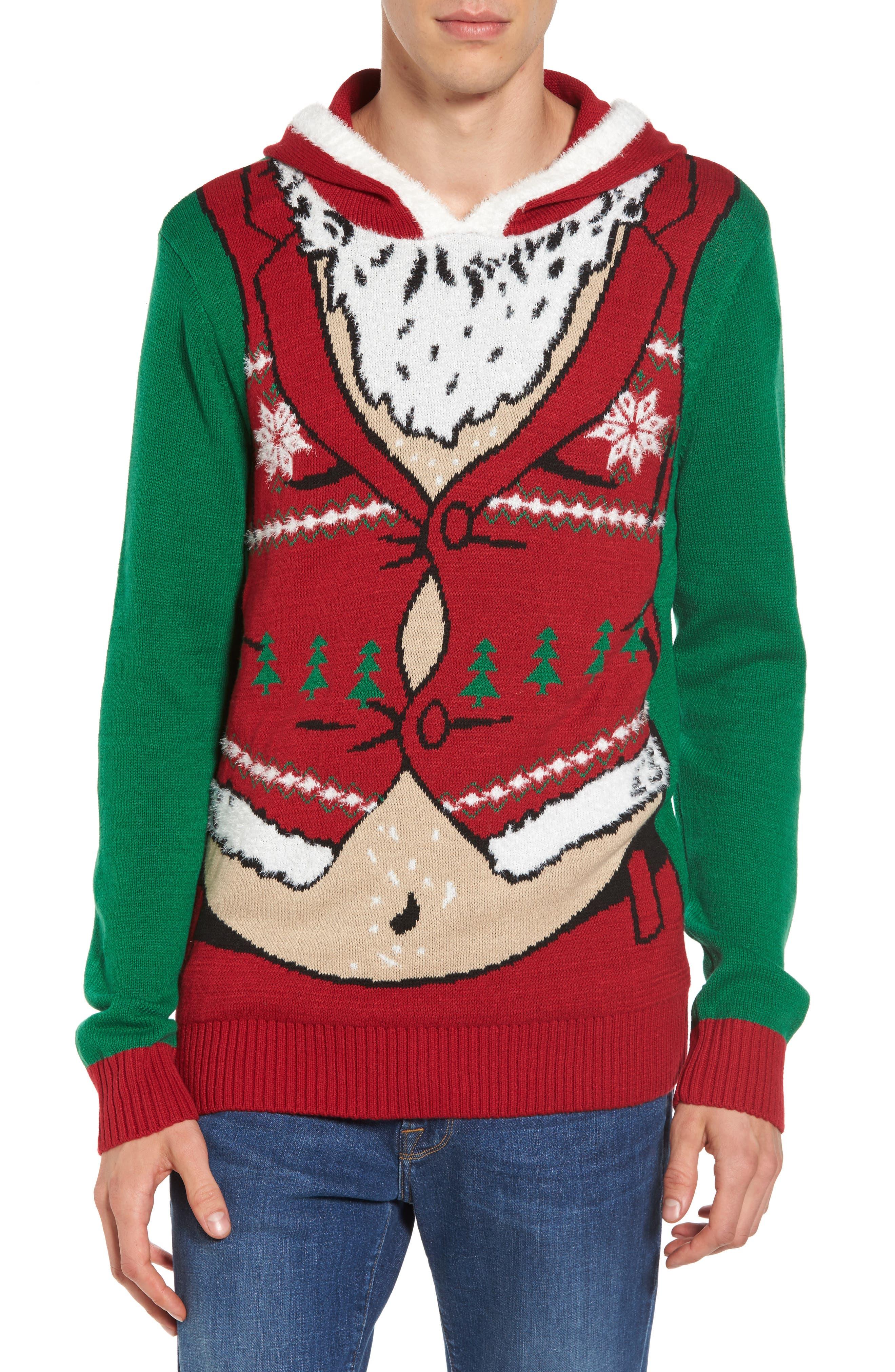 Santa Hoodie Sweater,                             Main thumbnail 1, color,                             Green Santa