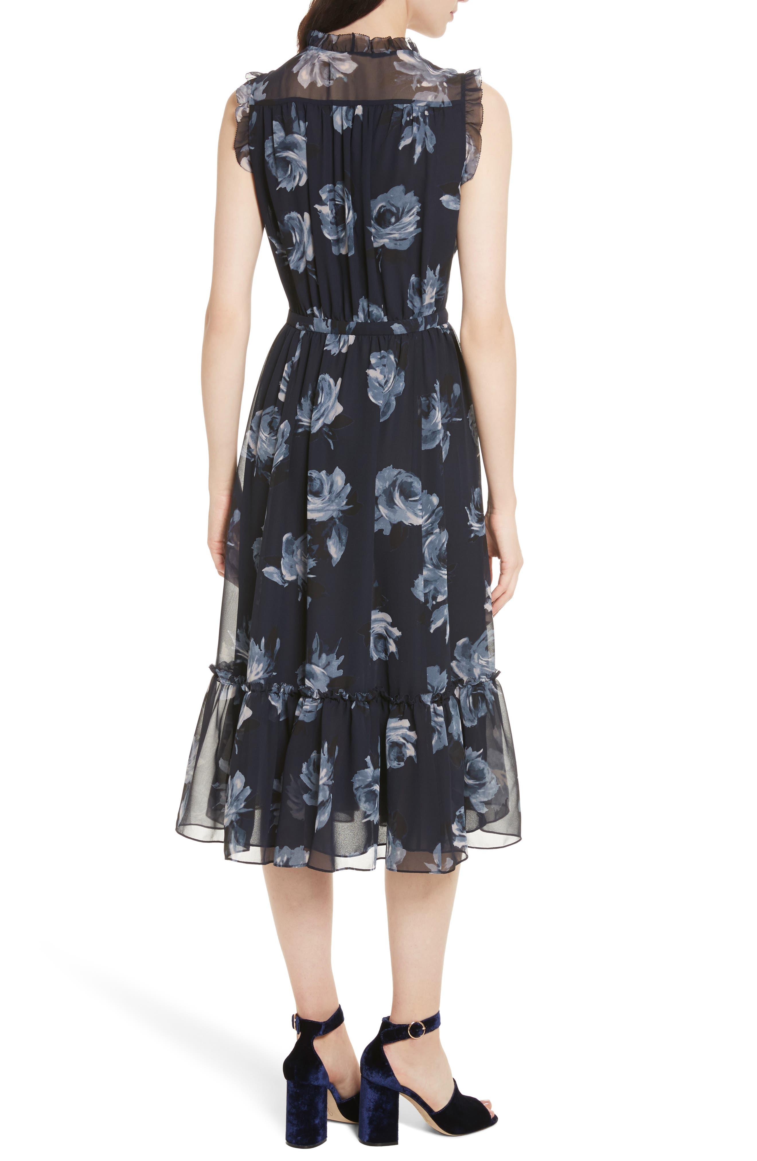 kade spade new york Night Rose Chiffon Midi Dress,                             Alternate thumbnail 2, color,                             Rich Navy
