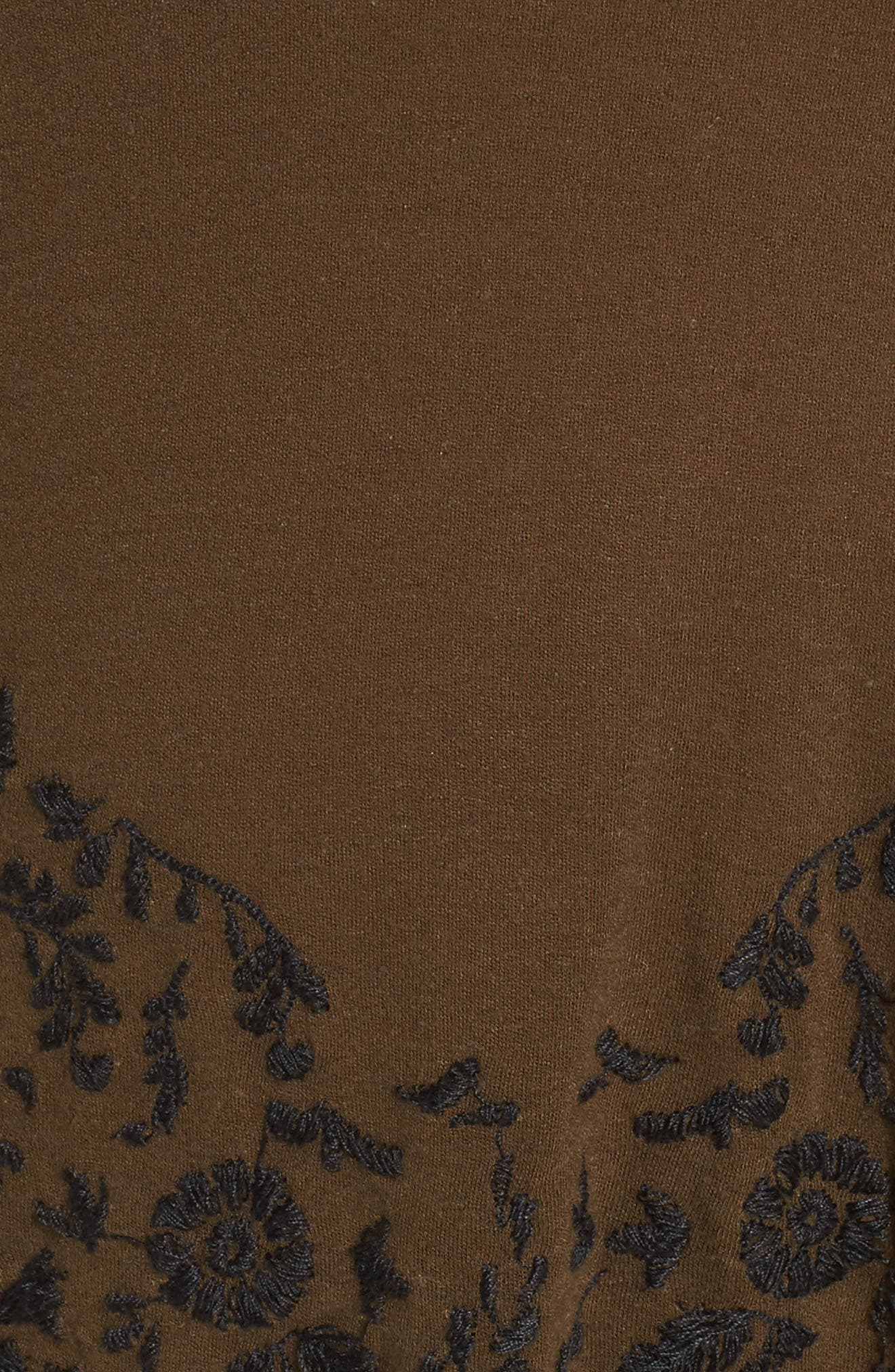 Embroidered Bell Sleeve Top,                             Alternate thumbnail 5, color,                             Olive