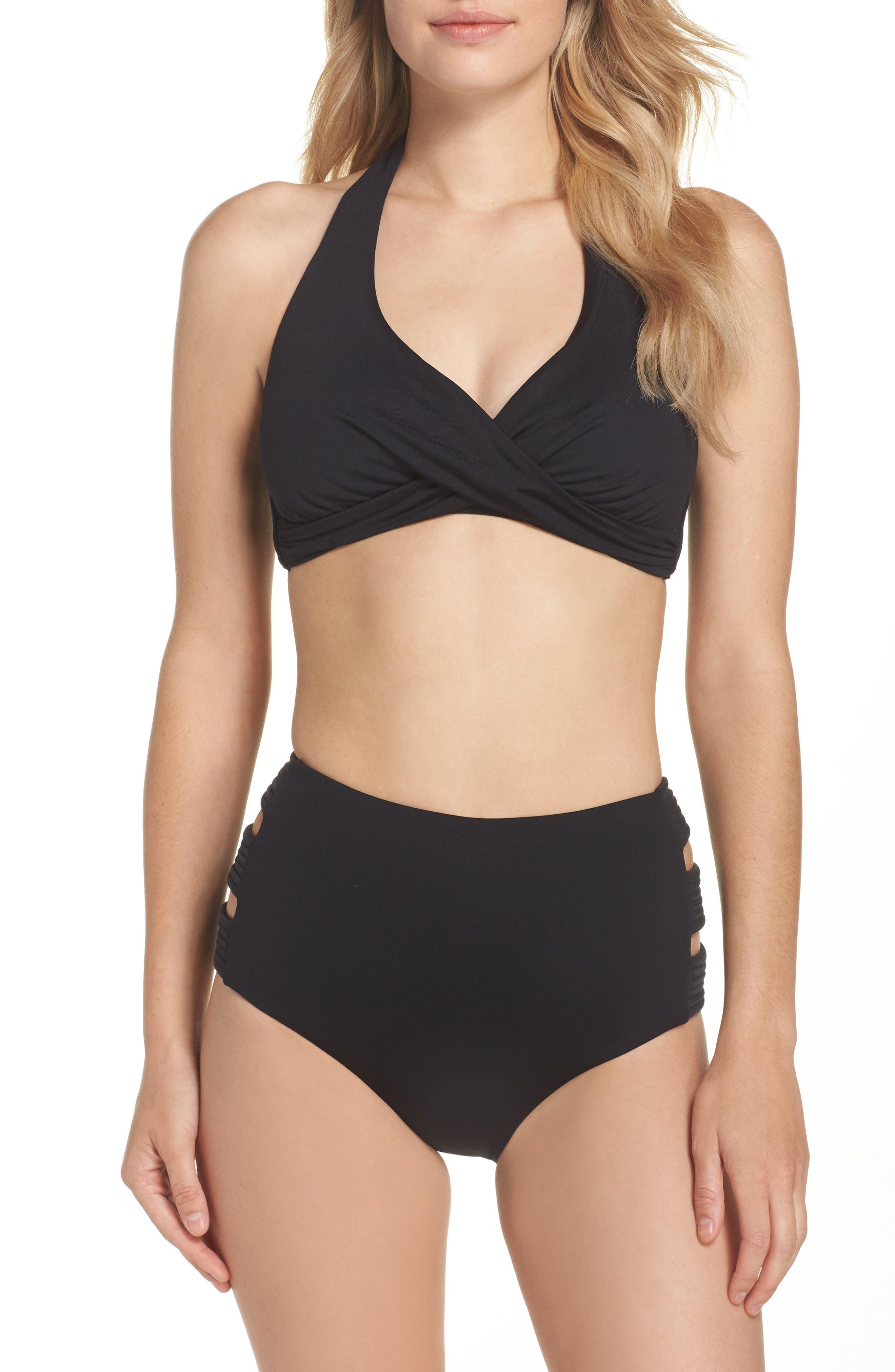 Twist D-Cup Underwire Halter Bikini Top,                             Alternate thumbnail 6, color,                             Black