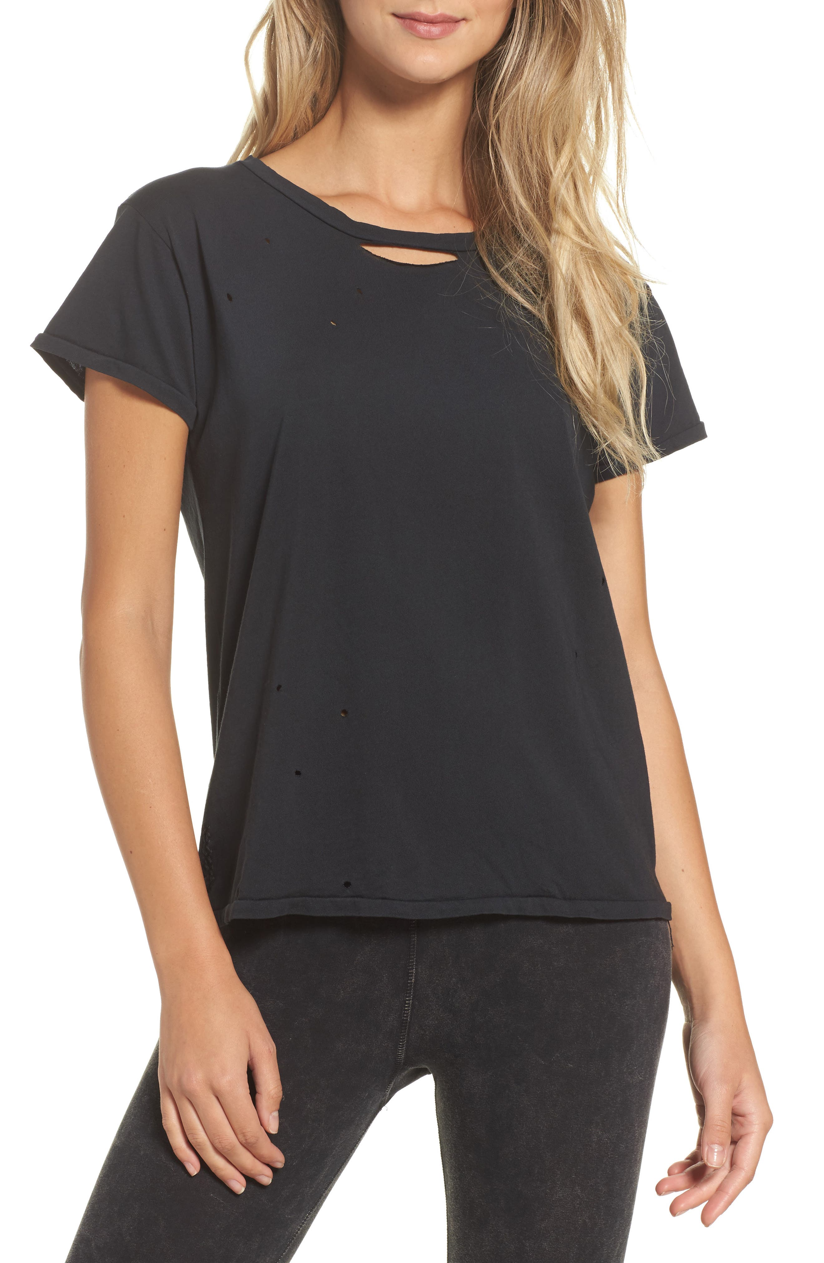 Distressed Tee,                         Main,                         color, Faded Black