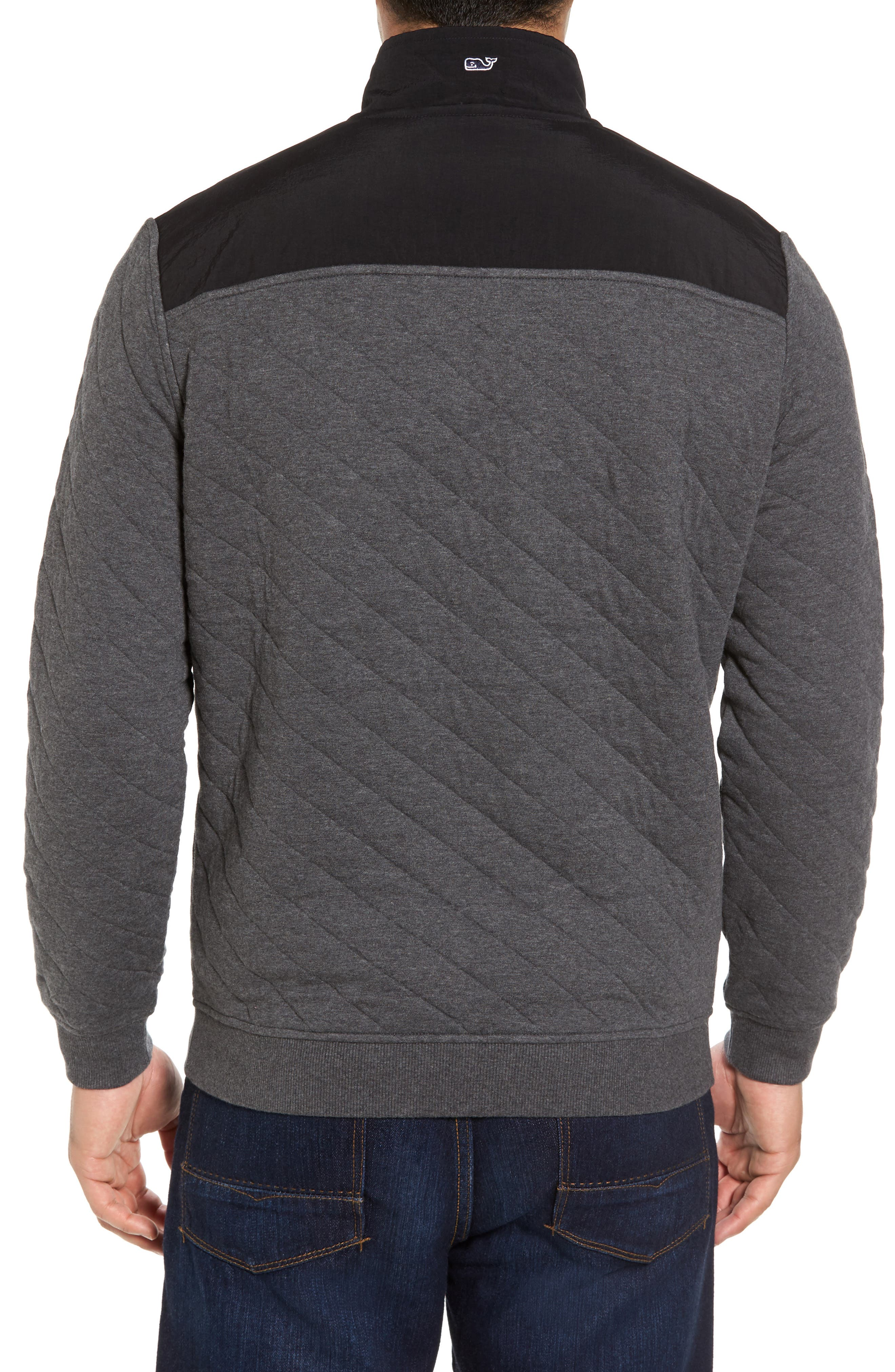 Quilted Quarter Zip Pullover,                             Alternate thumbnail 2, color,                             Charcoal Heather