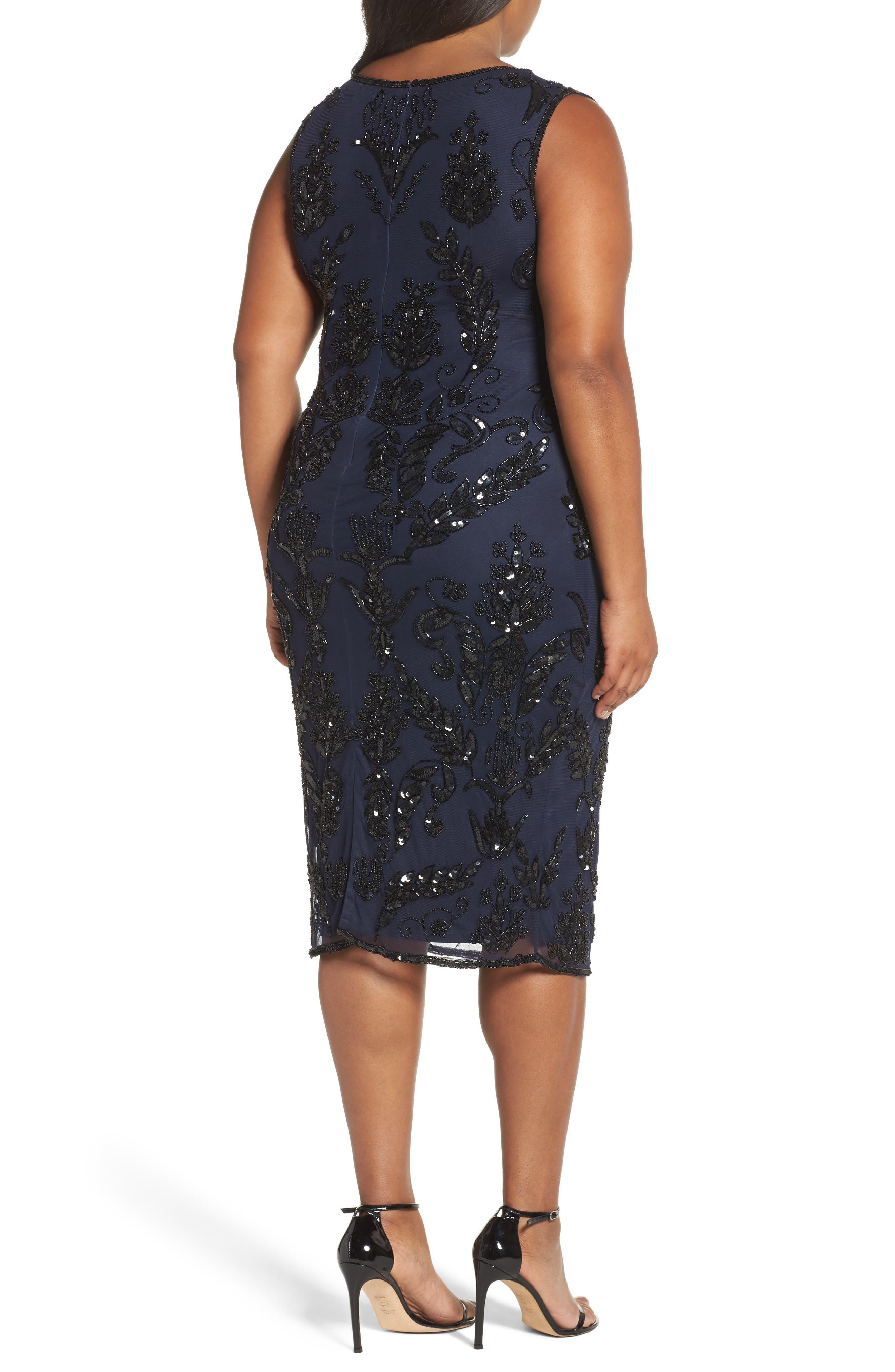 Alternate Image 2  - Pisarro Nights Embellished Tea Length Sheath Dress (Plus Size)