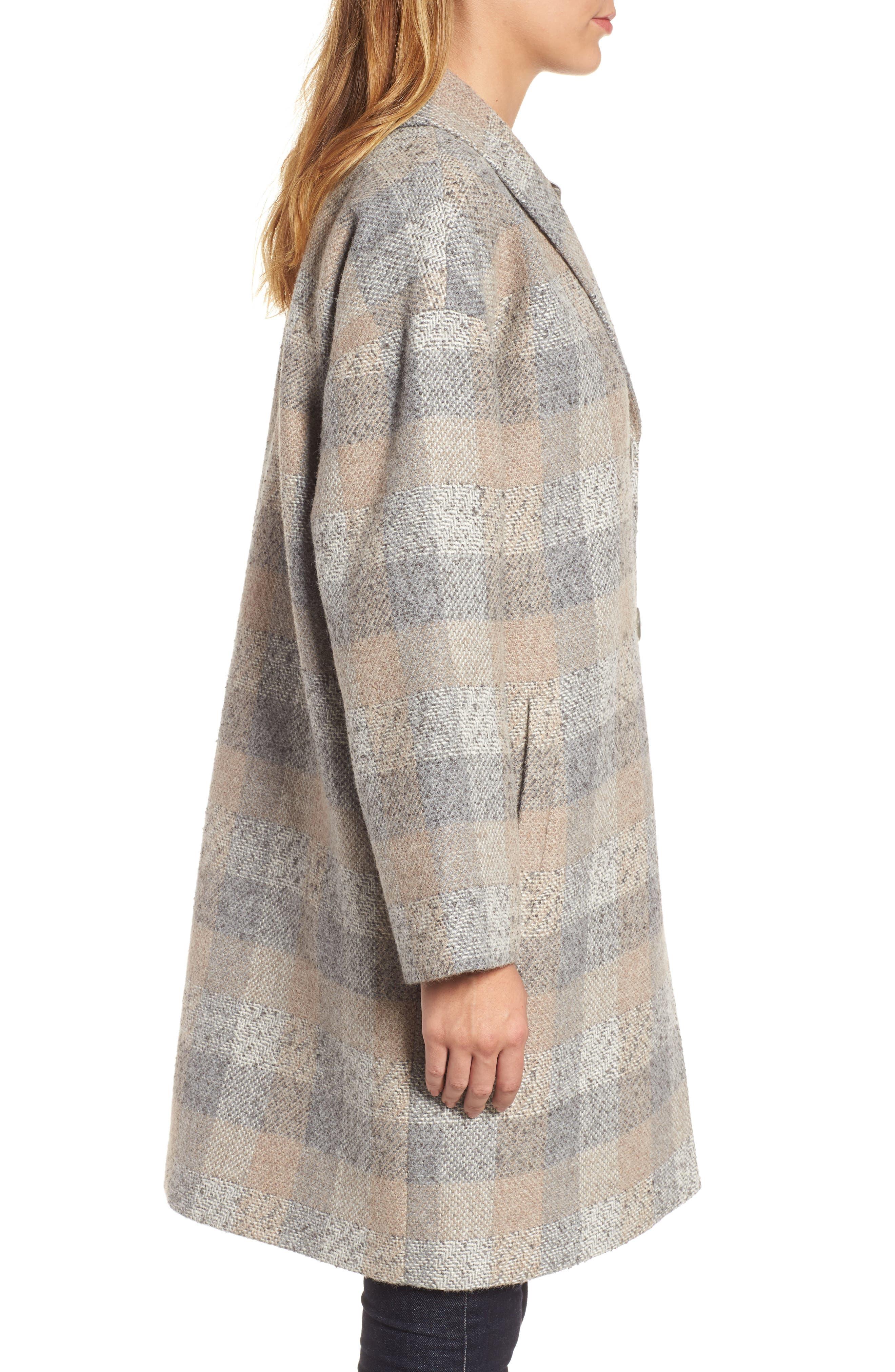 Plaid Alpaca Blend Coat,                             Alternate thumbnail 3, color,                             Dark Pearl