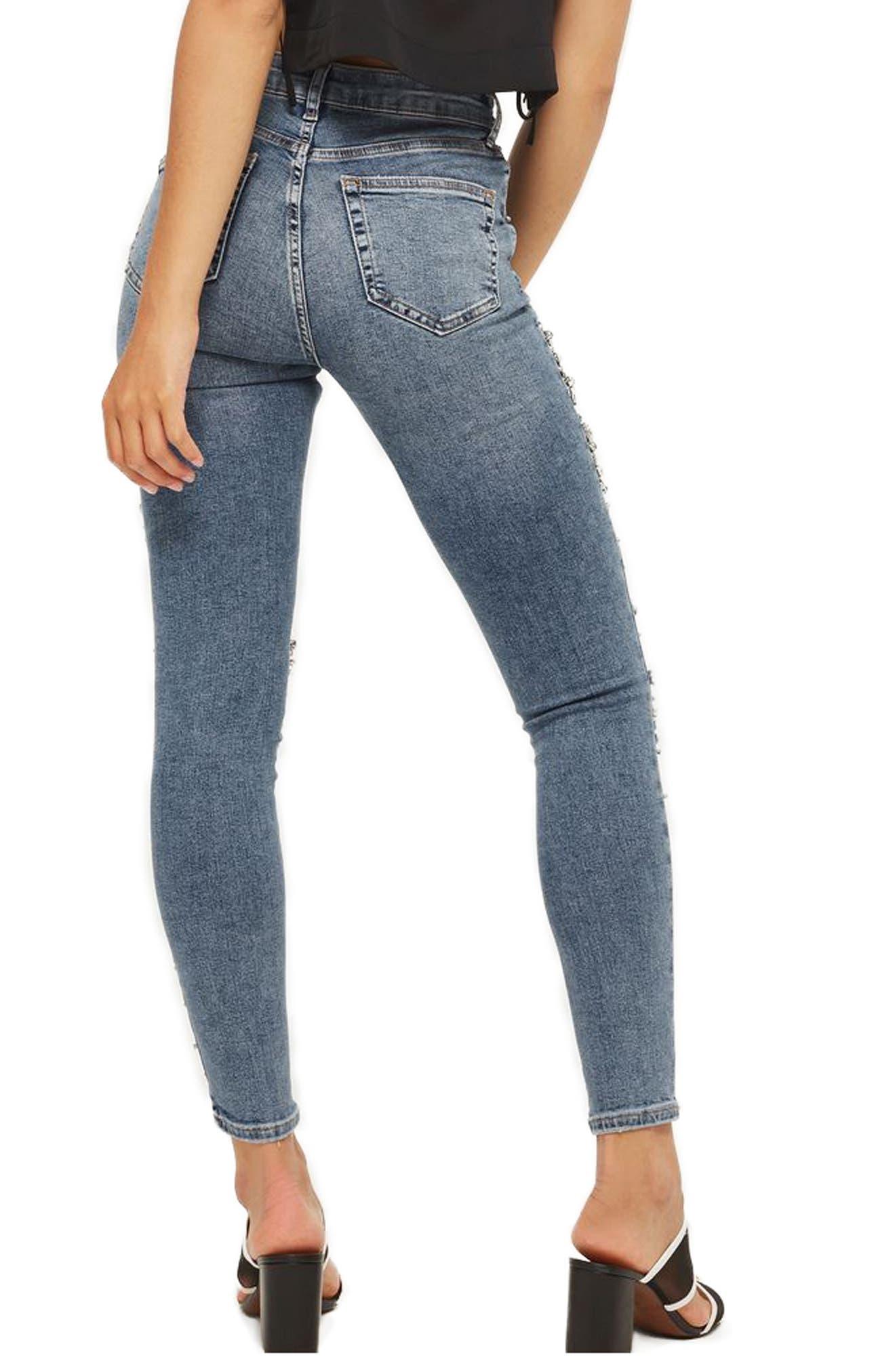 Alternate Image 2  - Topshop Limited Edition Jamie Gem Encrusted Skinny Jeans