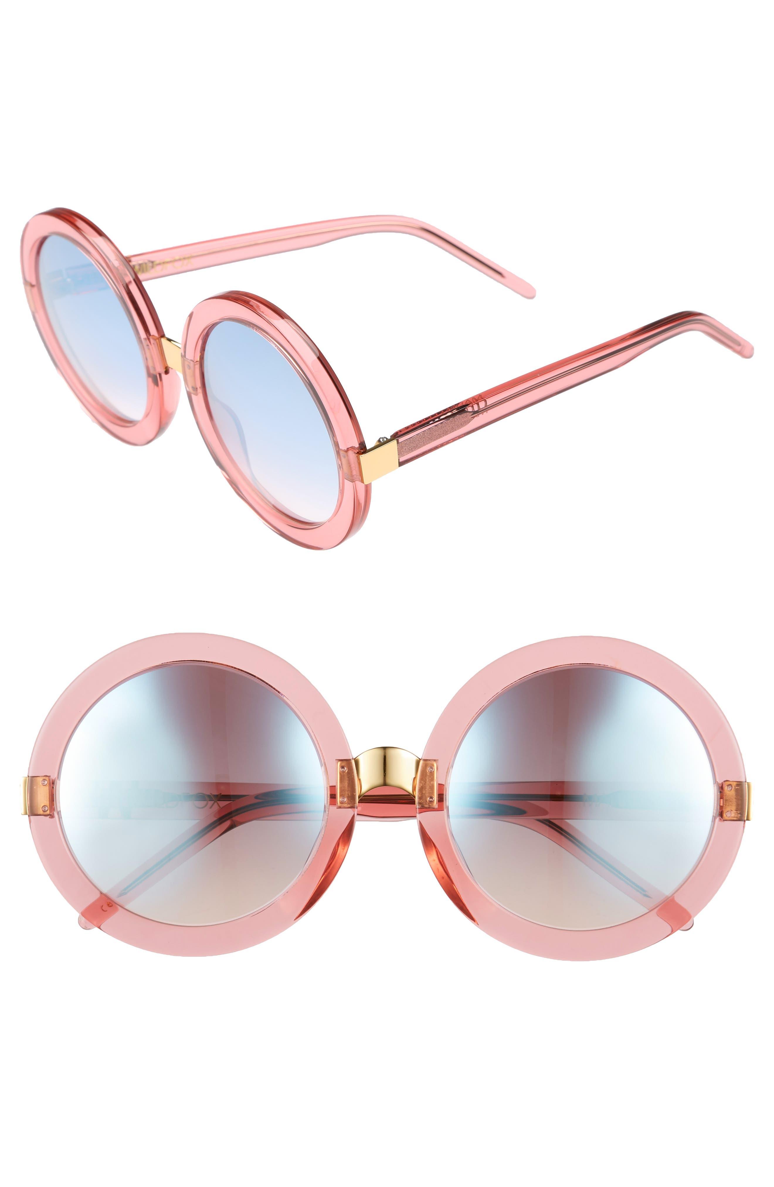 'Malibu Deluxe' 55mm Retro Sunglasses,                             Main thumbnail 1, color,                             Rosewater/ Silver Mirror